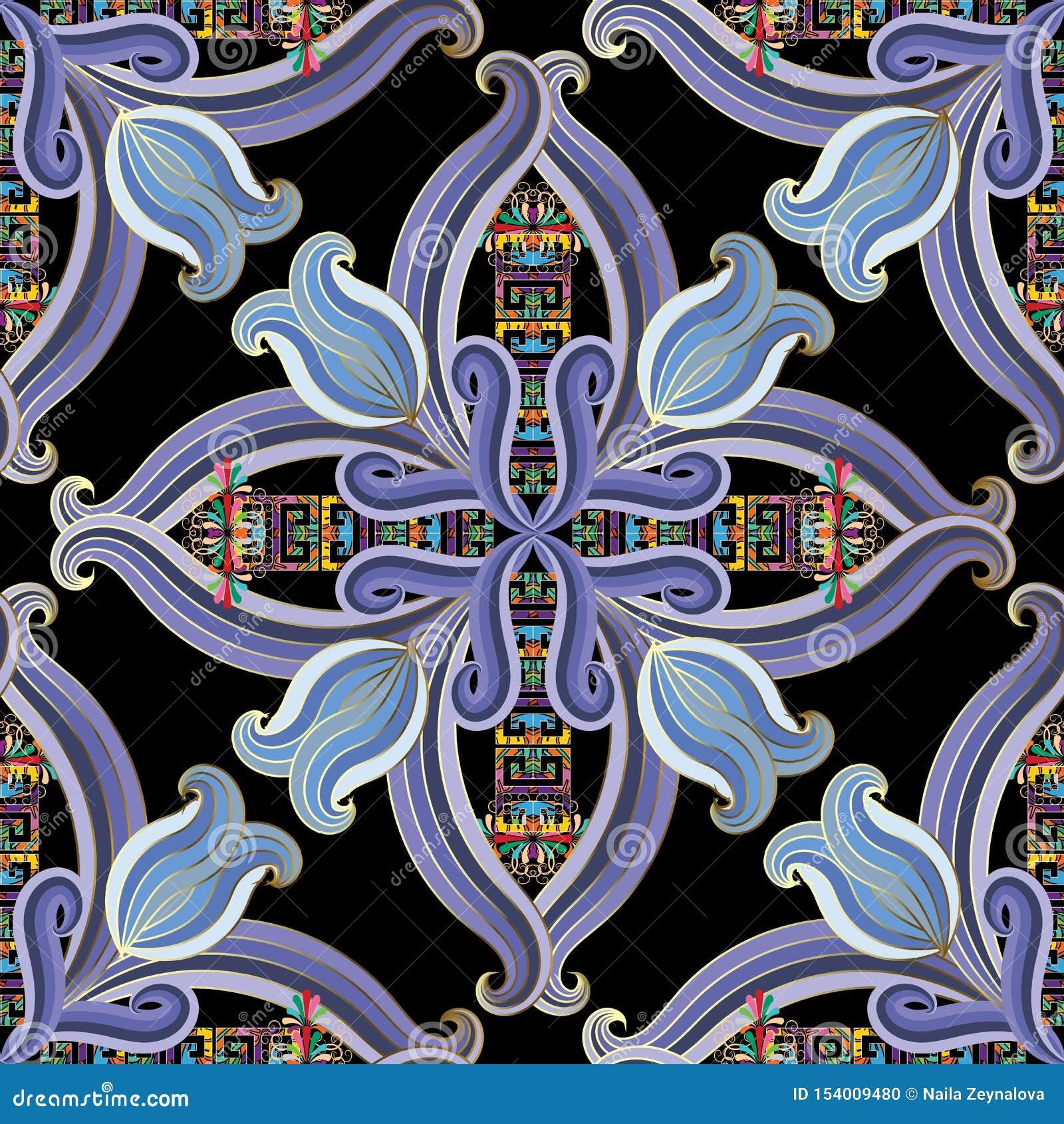 Uitstekend bloemen etnisch stijl Grieks vector naadloos patroon Kleurrijke sier moderne achtergrond Gestreepte hand getrokken blo