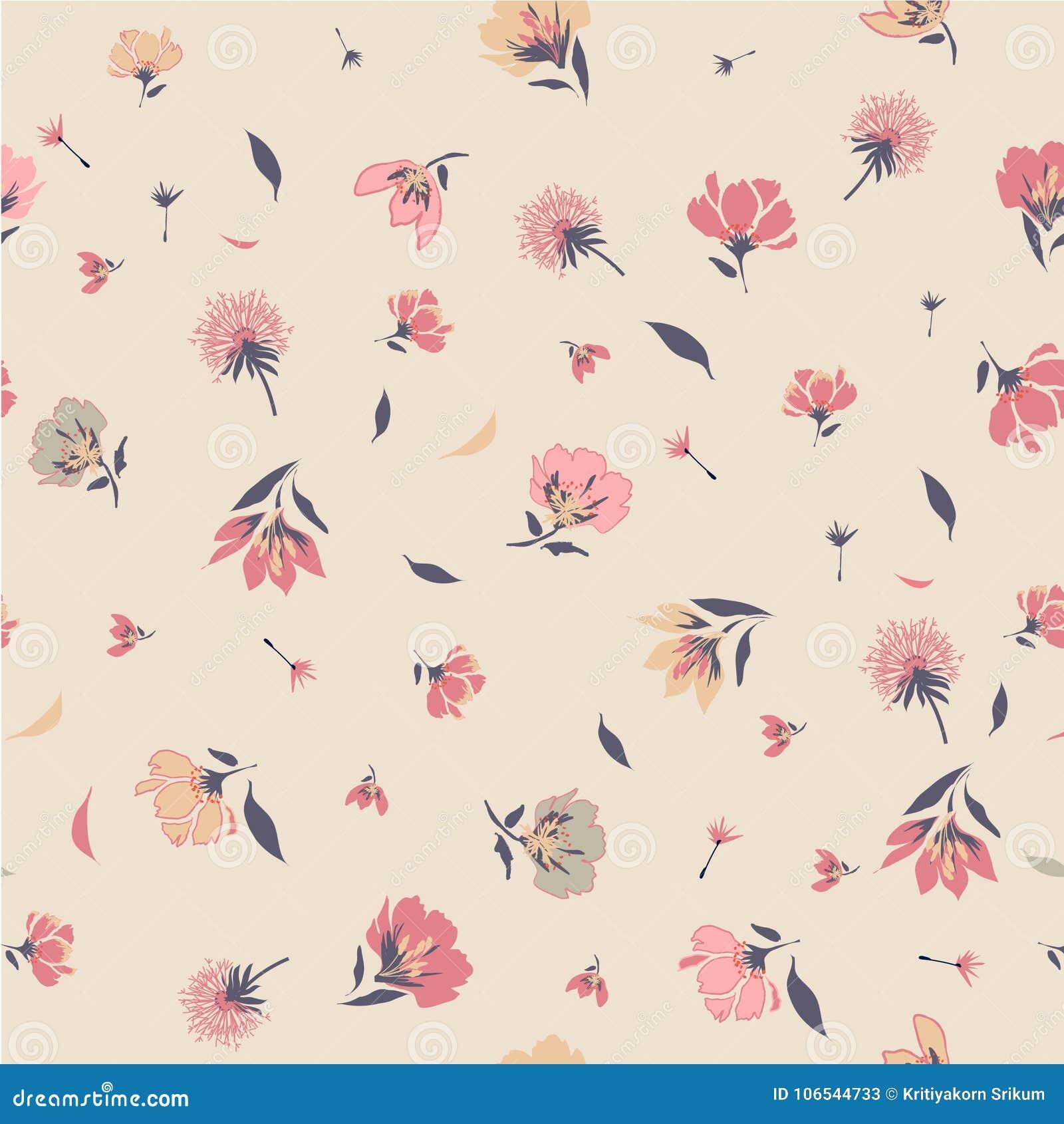 Uitstekend Bloesem Bloemenpatroon in het het bloeien botanische Motief