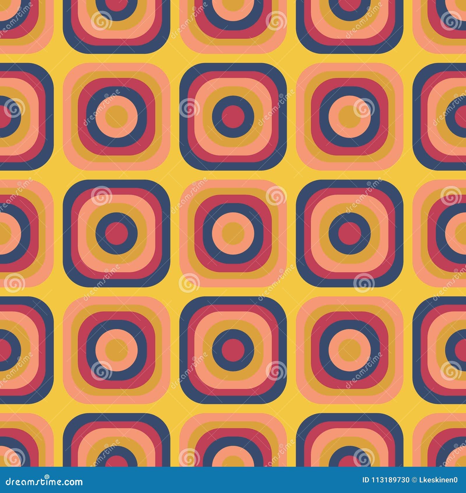 Beste Uitstekend De Jaren '70 Naadloos Patroon Vector Illustratie WZ-19