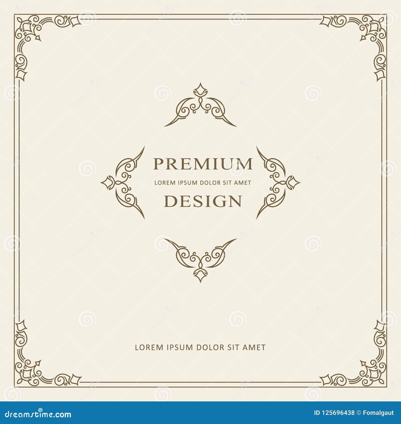 Uitstekend de kaart vectormalplaatje van de ornamentgroet Retro Luxeuitnodiging, Koninklijk Certificaat Bloeit kader Het kan voor