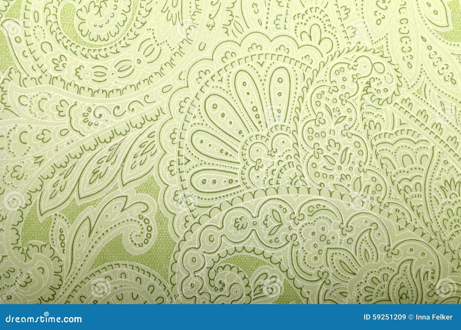 Behang Oud Groen.Uitstekend Grijs En Groen Behang Met Het Patroon Van Paisley Stock