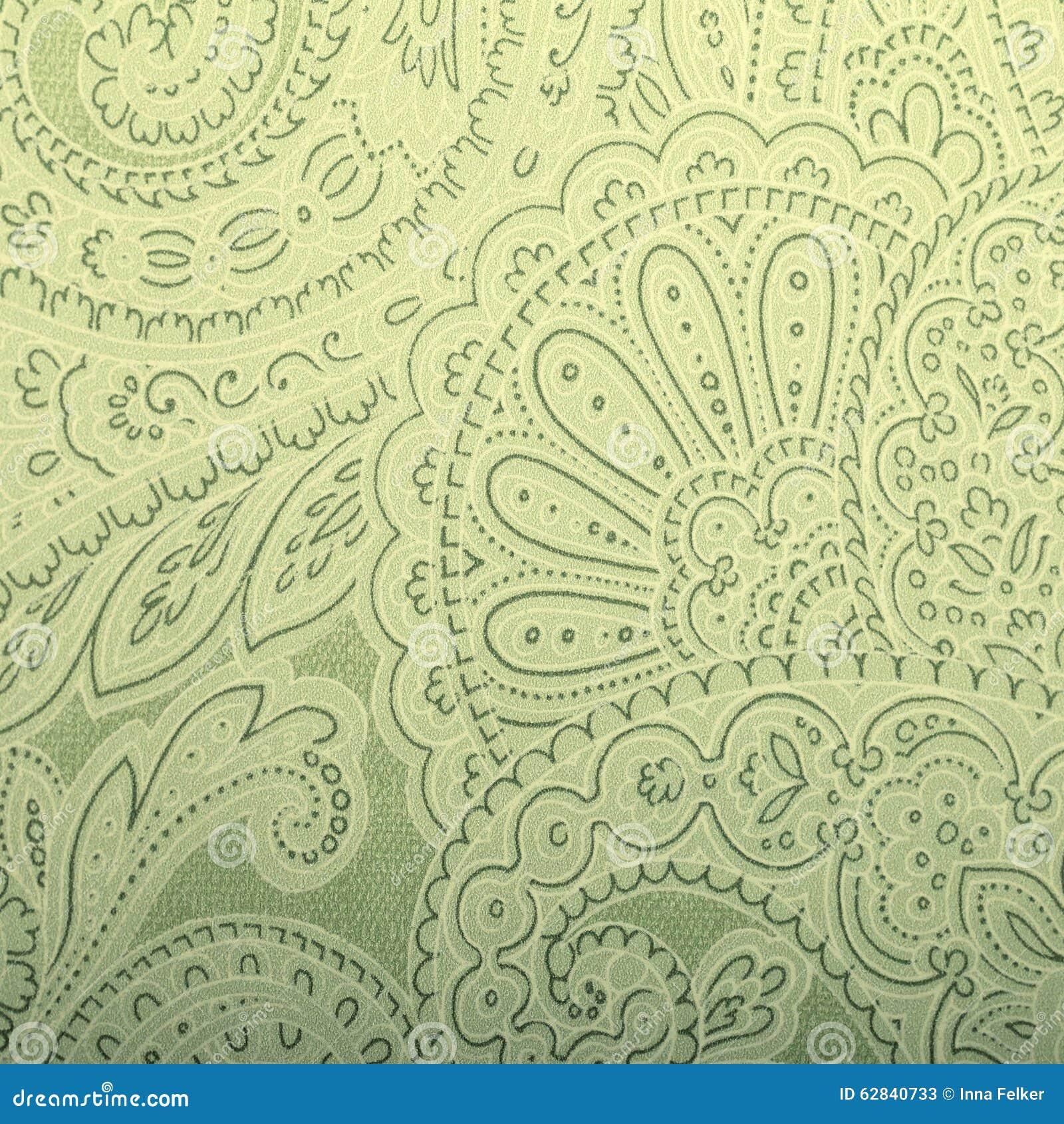 Fabulous Uitstekend Grijs En Groen Behang Met Het Patroon Van Paisley Stock @SP03