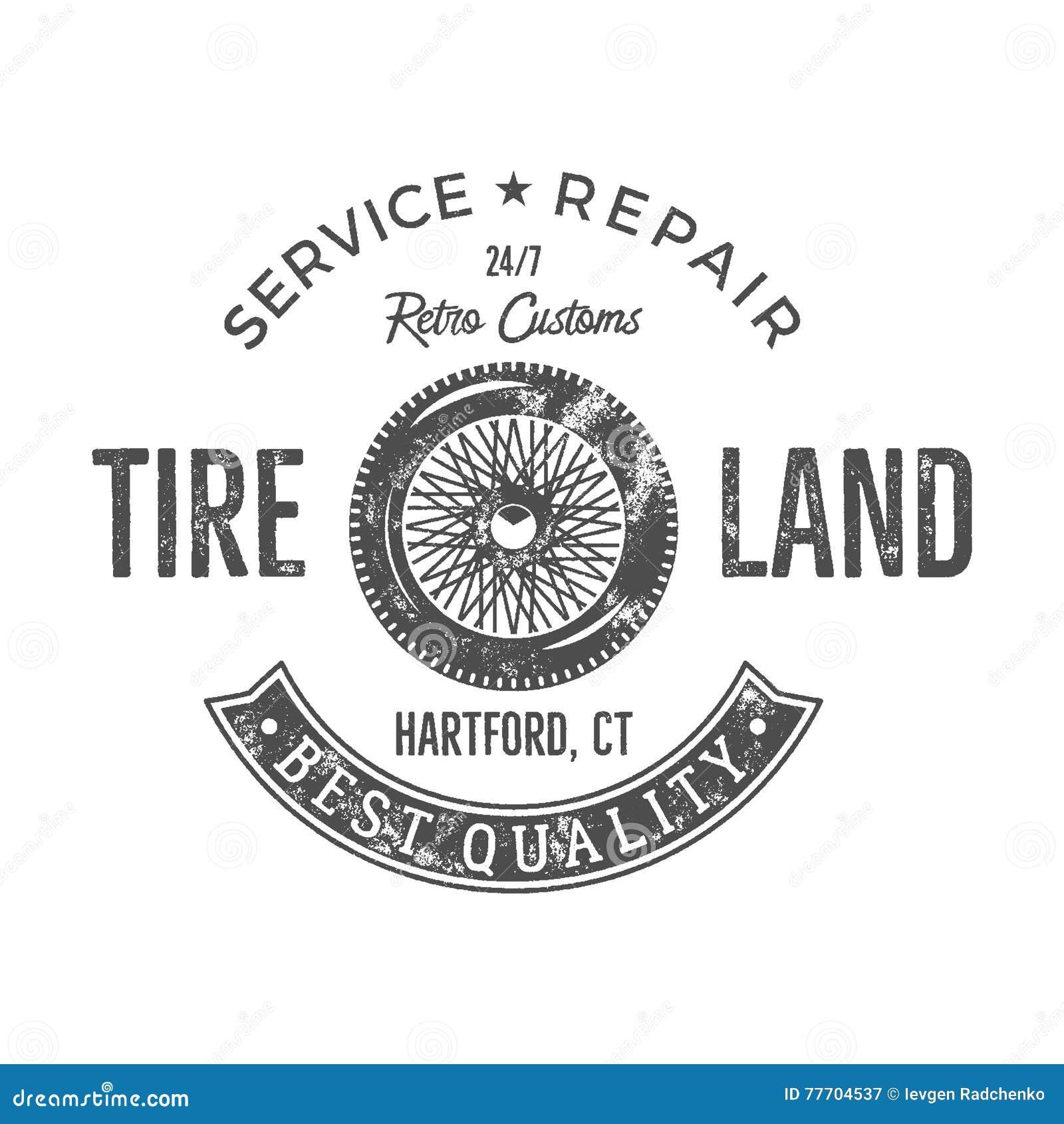 Uitstekend het etiketontwerp van de banddienst Retro embleem in zwart-wit retro stijl met vector oude wiel en typografieelementen