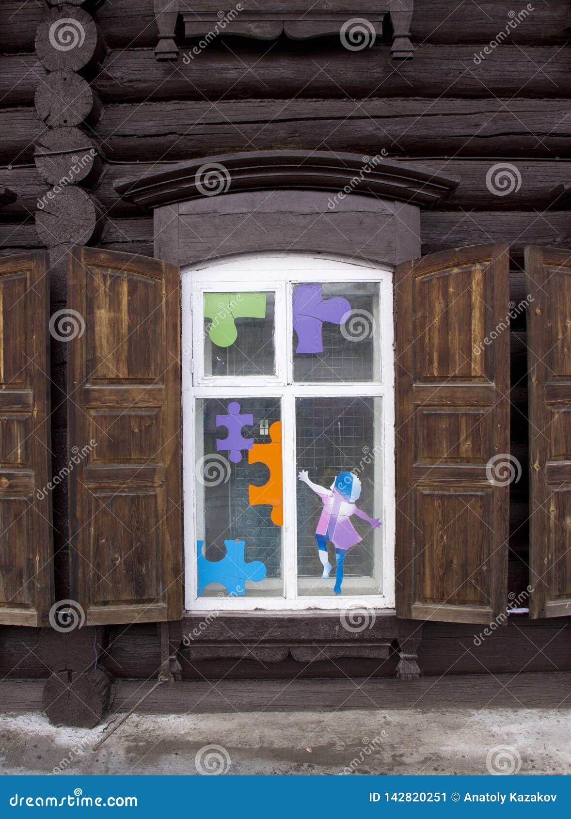 Uitstekend houten venster