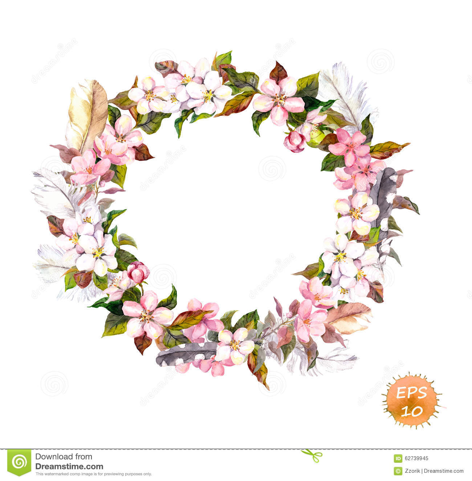 Uitstekend kader - kroon in bohostijl Veren en bloemenkers, de bloesem van de appelbloem
