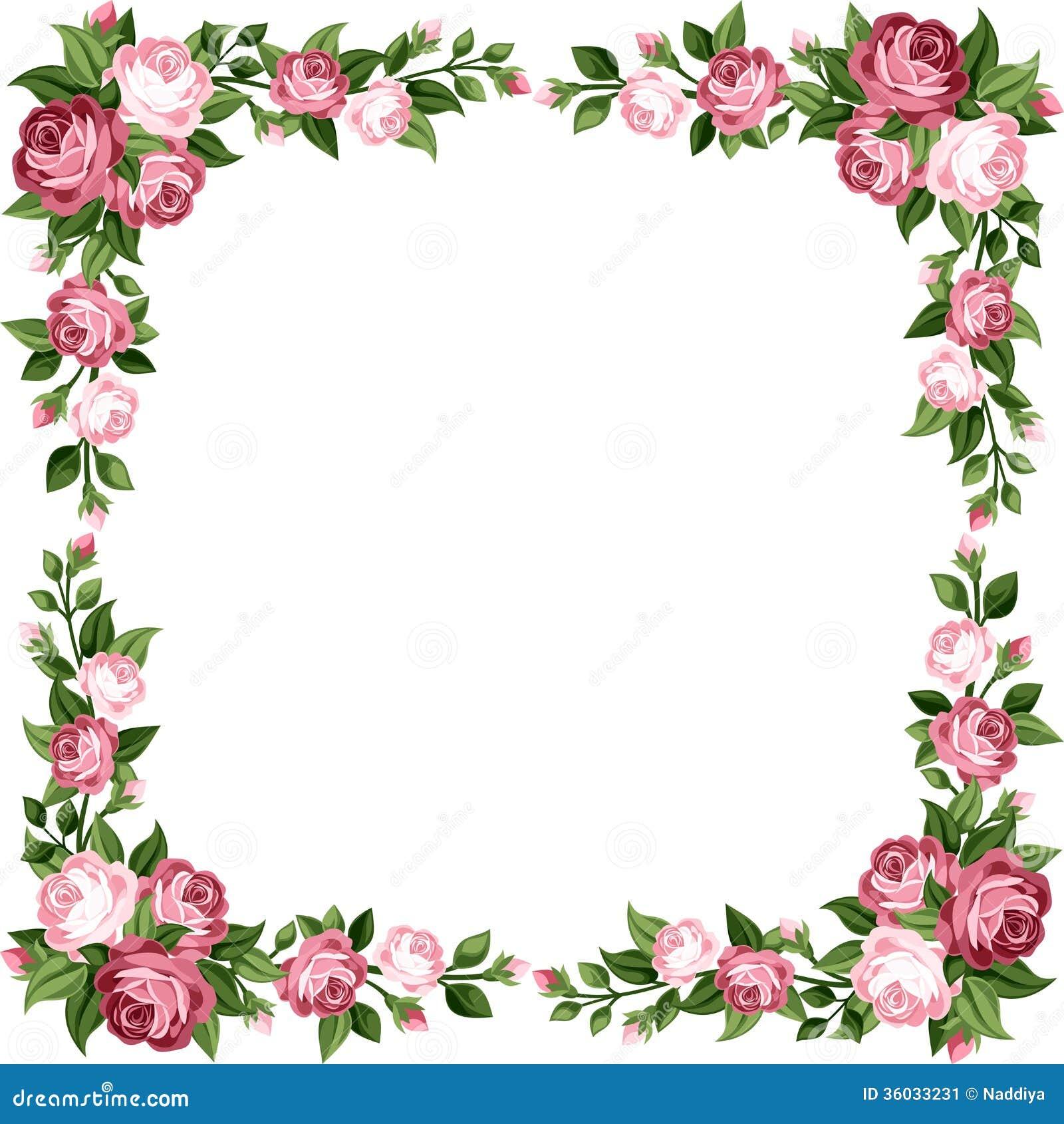 Uitstekend Kader Met Roze Rozen. Vector Illustratie - Afbeelding: 36033231