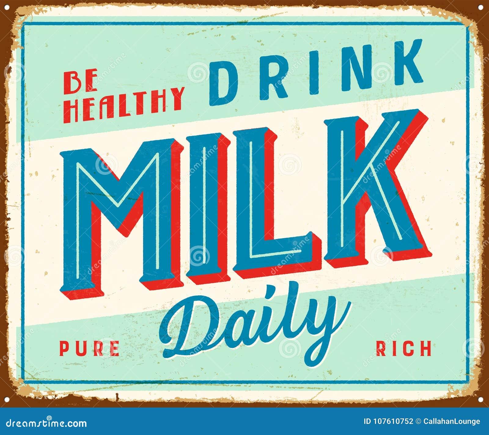Uitstekend metaalteken - Gezond ben dagelijks drinken Melk