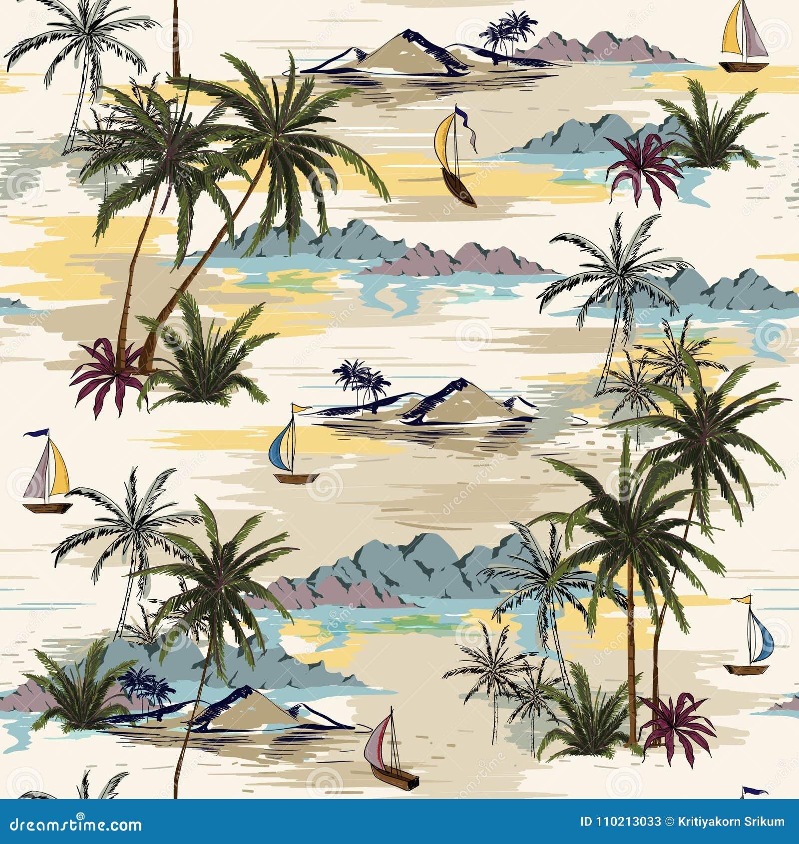 Uitstekend Mooi naadloos eilandpatroon op witte achtergrond L