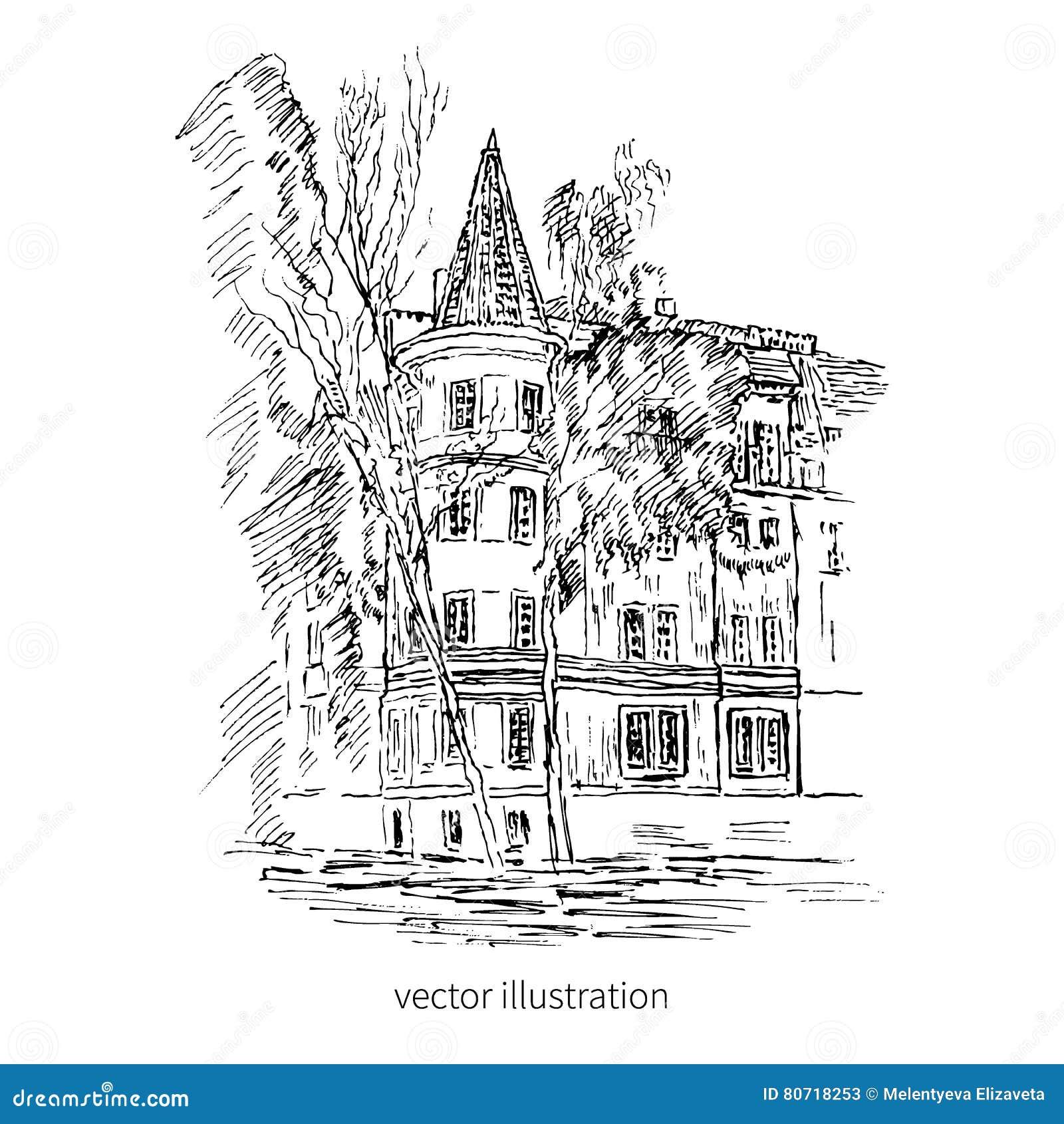 Uitstekend tegel oud Europees huis, vector grafische illustratie, het graverende herenhuis van de overzichtsschets, Landelijk lan