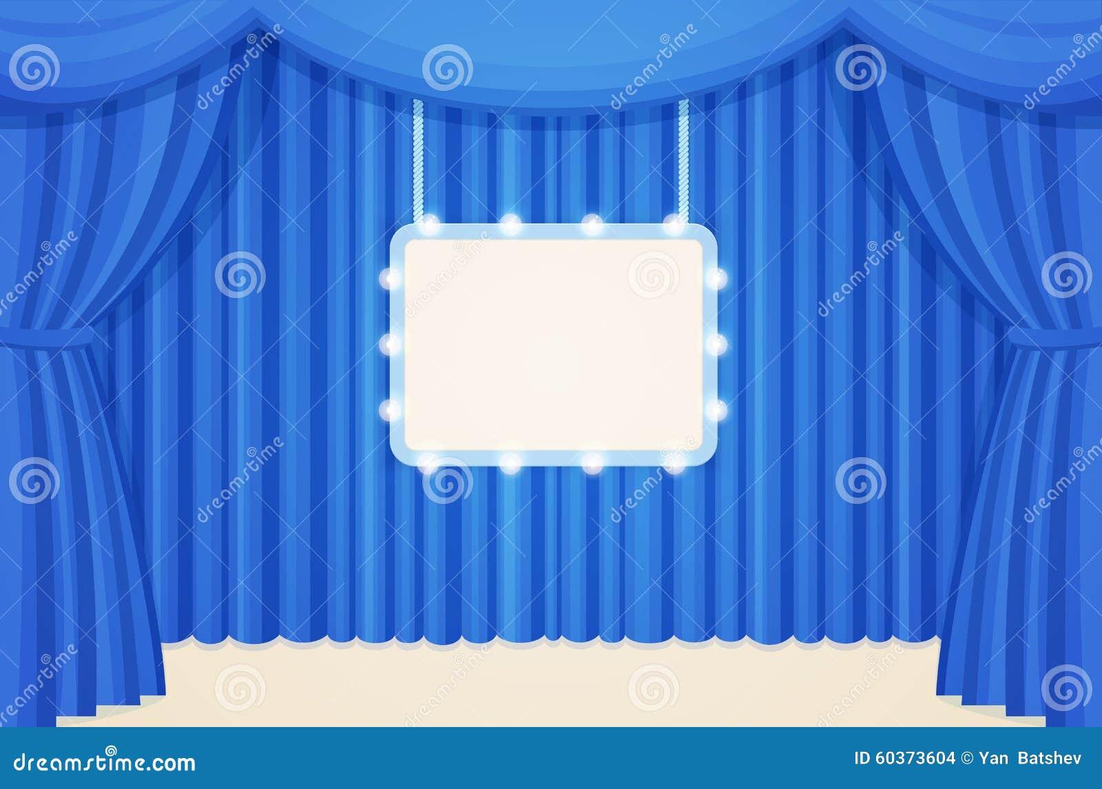 download uitstekend theater of bioskoopstadium met blauwe gordijnen en van markttent gloeilampen raad vector illustratie