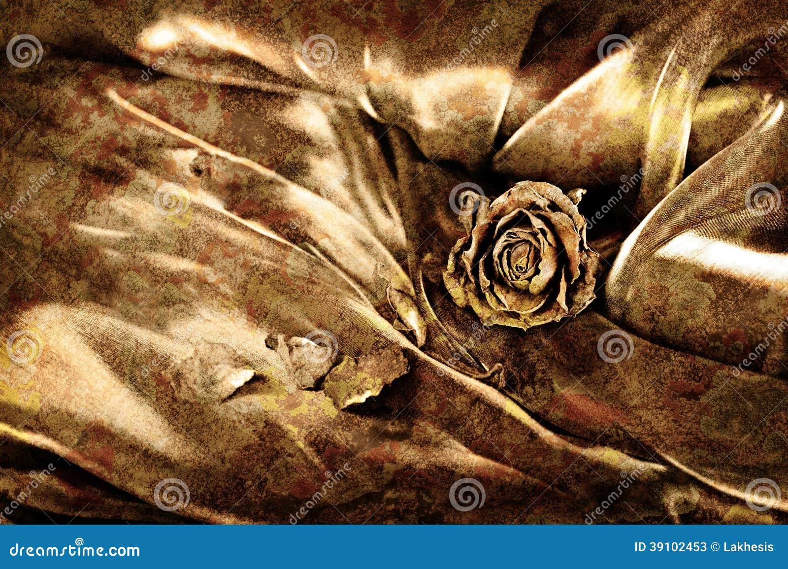 Uitstekende achtergrond: Droog nam op satijn toe Het gouden gekleurde beeld, zal