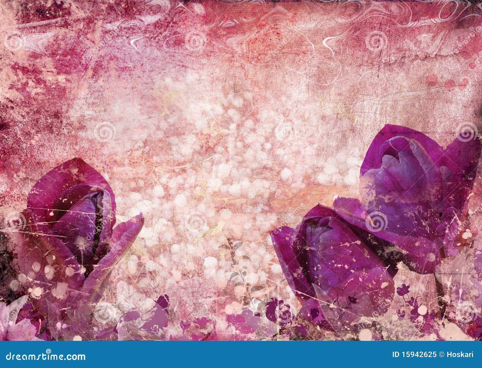Uitstekende Achtergrond Met Tulpen Royalty vrije Stock Foto   Afbeelding  15942625