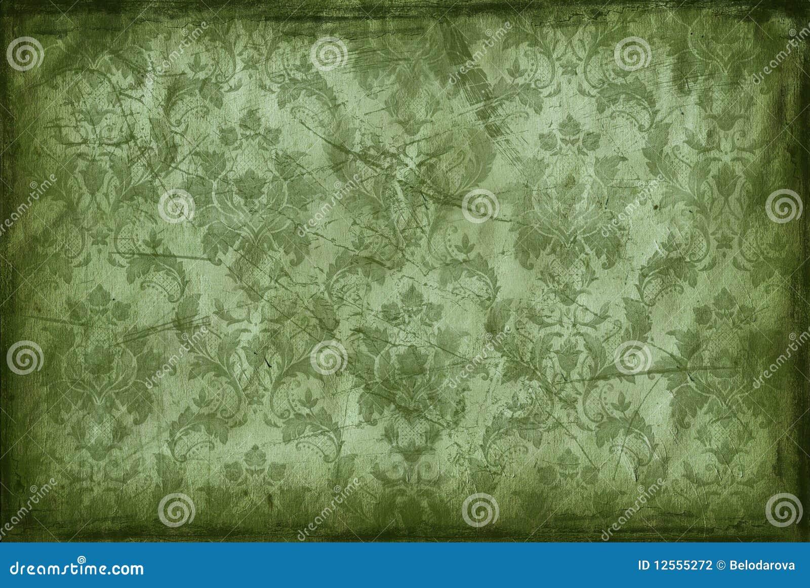 Behang Oud Groen.Uitstekende Achtergrond Van Oud Behang Stock Illustratie