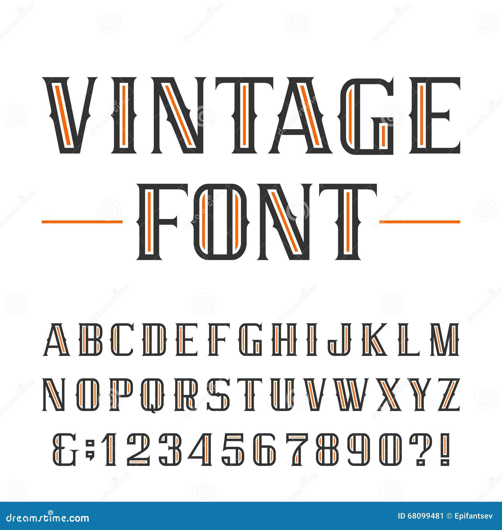 Uitstekende alfabet vectordoopvont