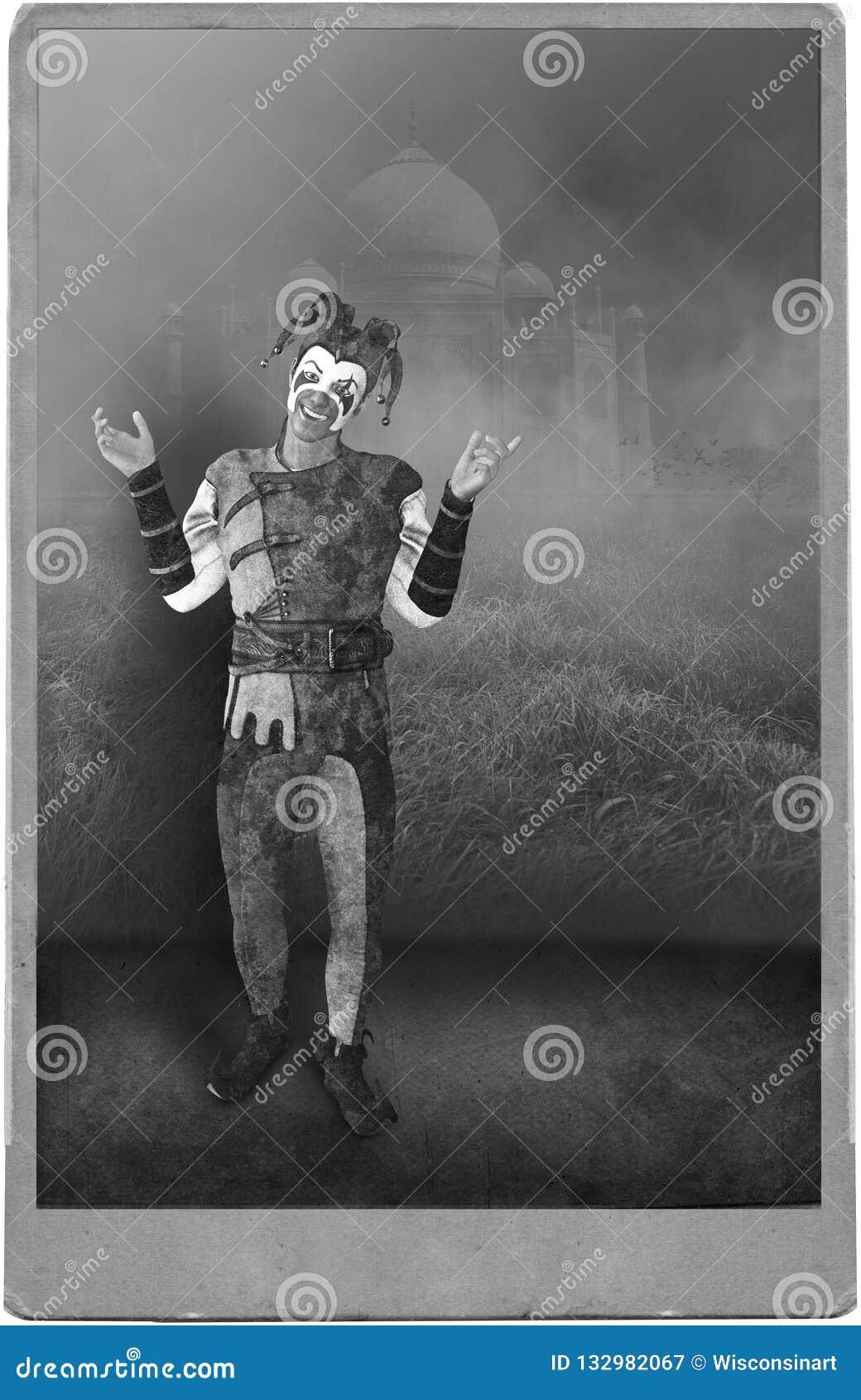 Uitstekende Antieke foto Jester Clown