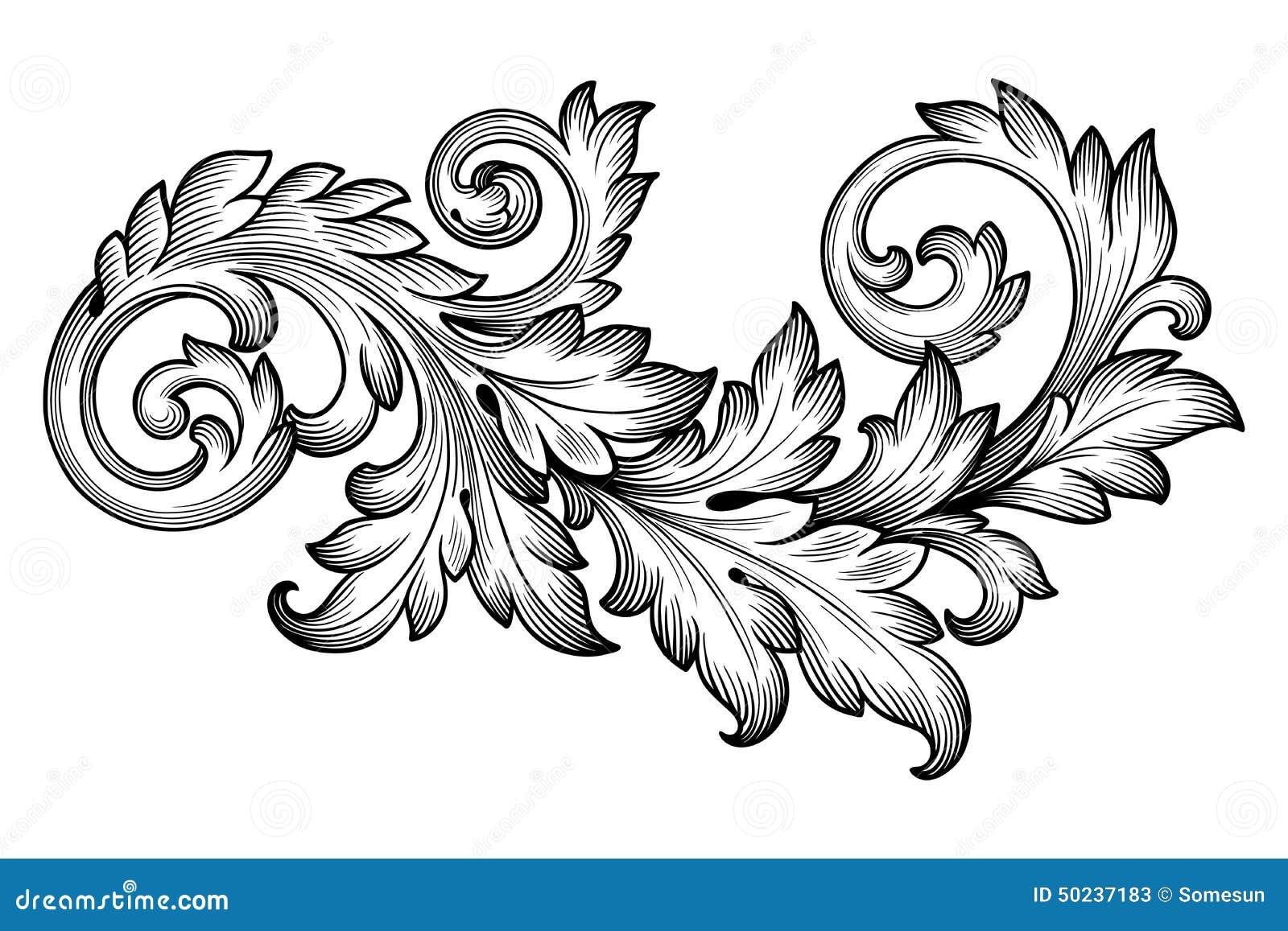 Uitstekende barokke het ornamentvector van de gebladerte bloemenrol