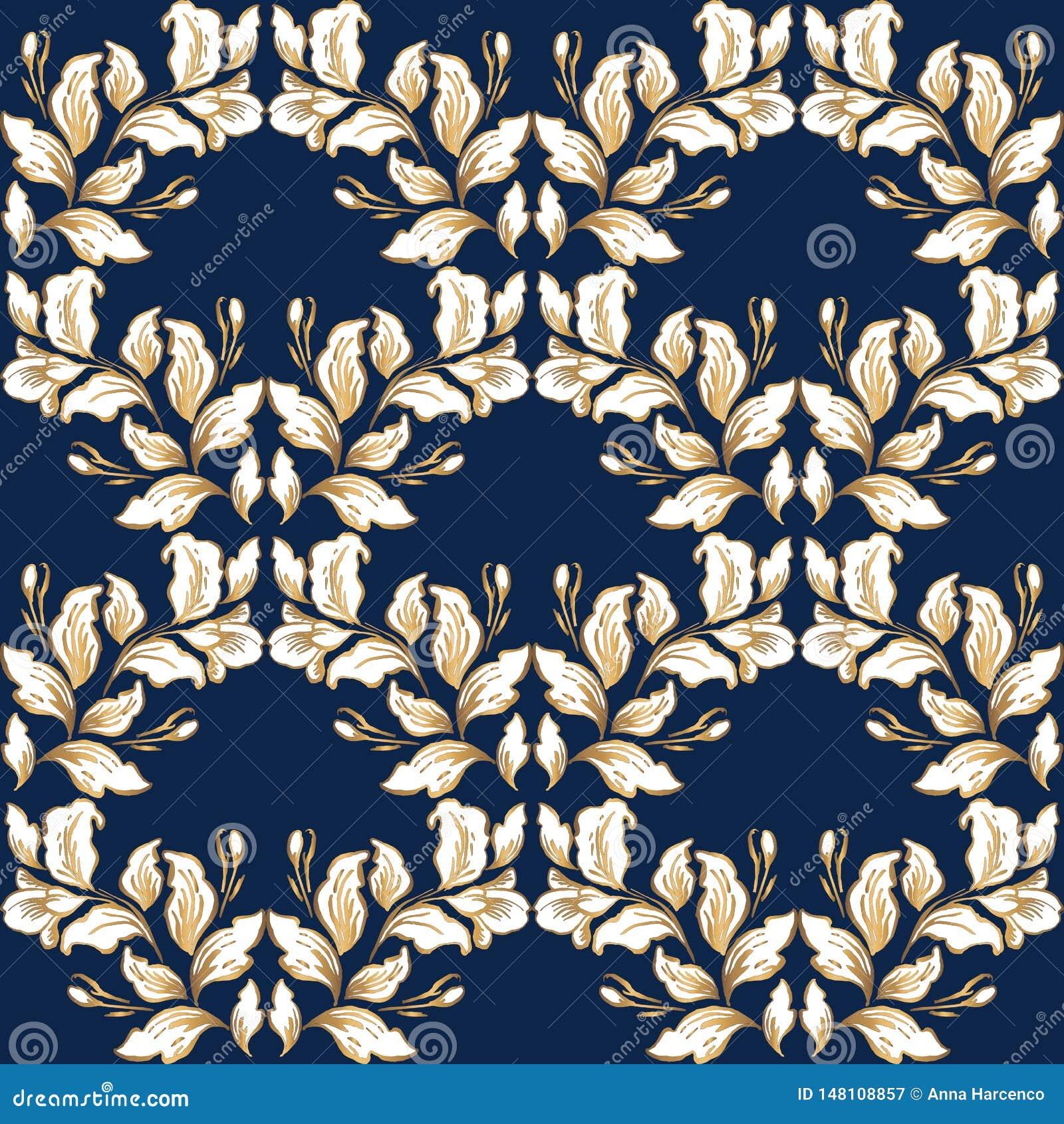 Uitstekende barokke patroon naadloze vector op de klassieke achtergrond van de bloem grafische stijl voor achtergrond, malplaatje