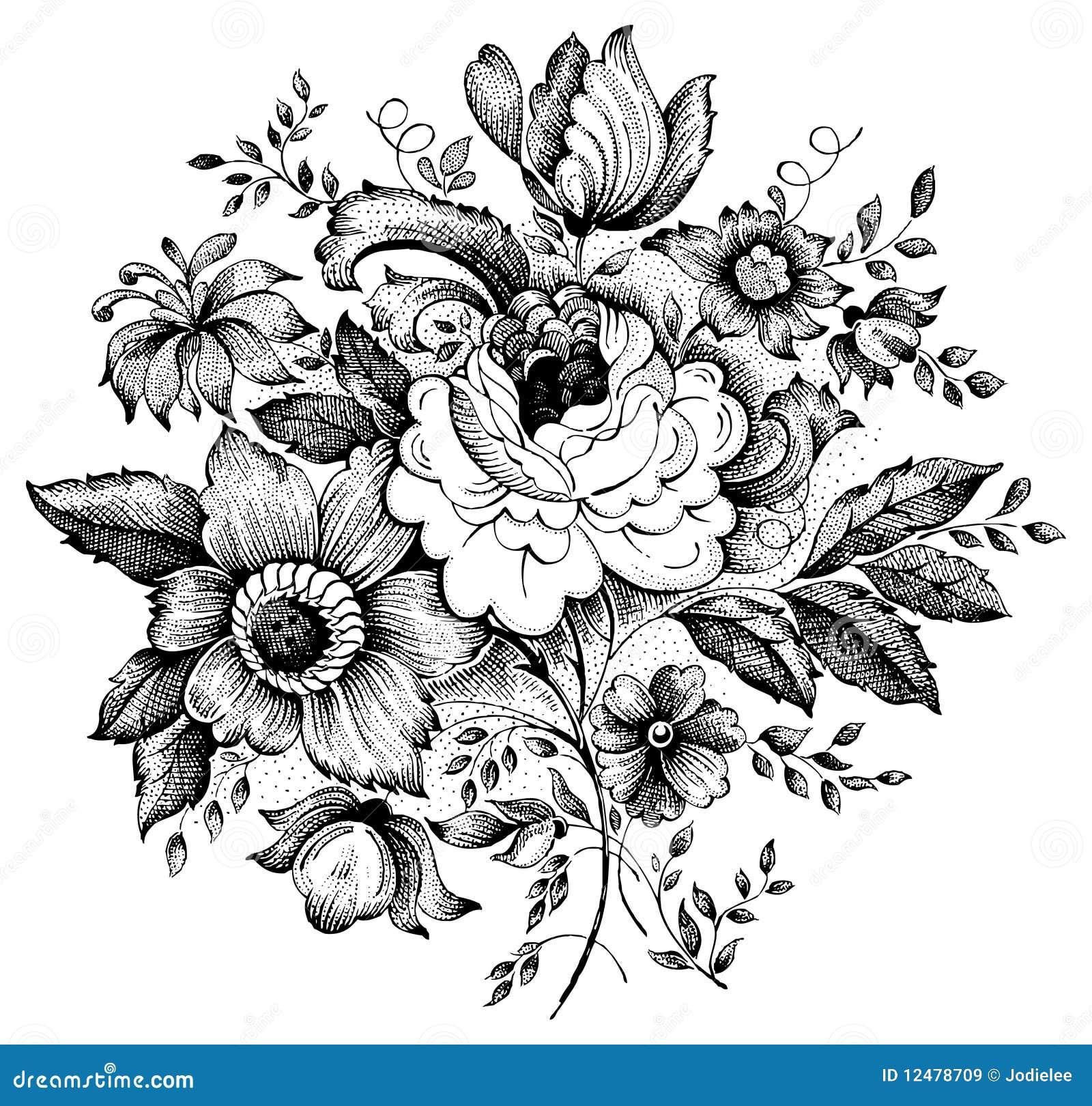 Uitstekende bloem vectorillustratie