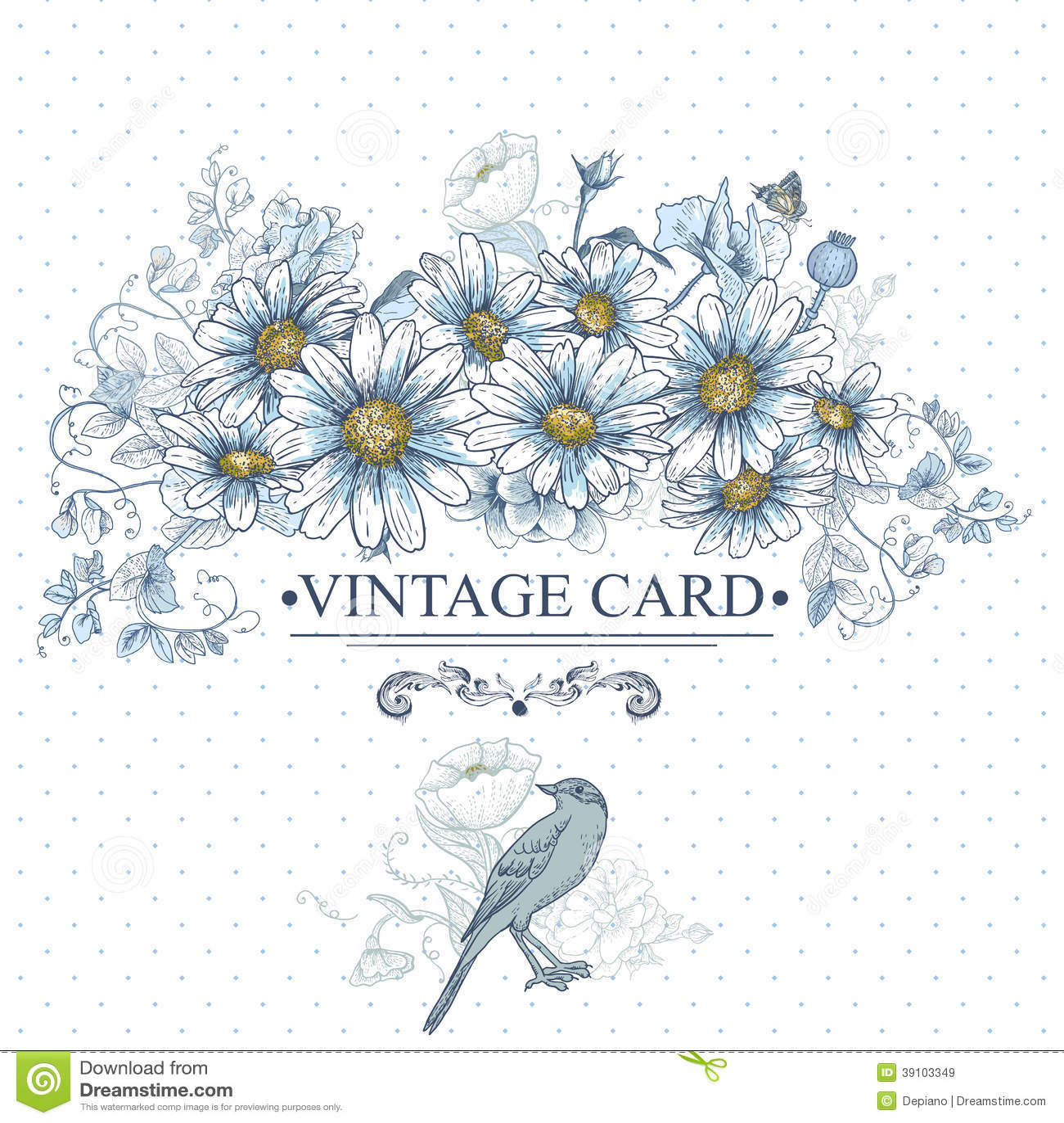 Uitstekende Bloemenkaart met Vogels en Madeliefjes