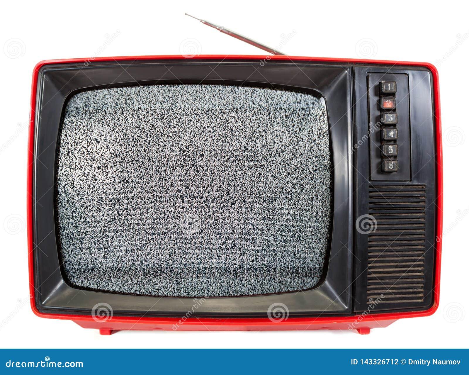 Uitstekende draagbare Televisie met statisch die lawaai op het scherm op wit wordt geïsoleerd