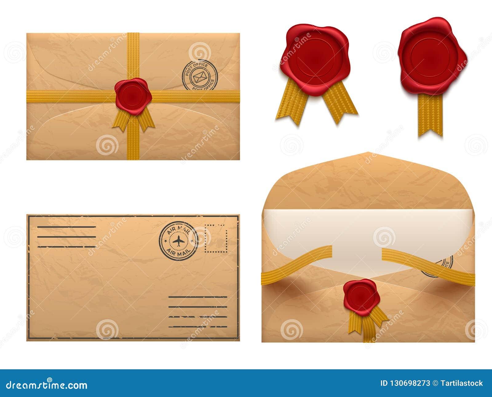 Uitstekende envelop Retro enveloppenbrief met de zegel van de wasverbinding, oude postbestellings vectorreeks