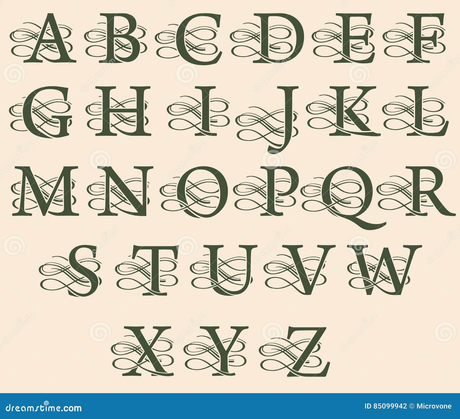Uitstekende Filigraan Decoratieve Monogrammen Met
