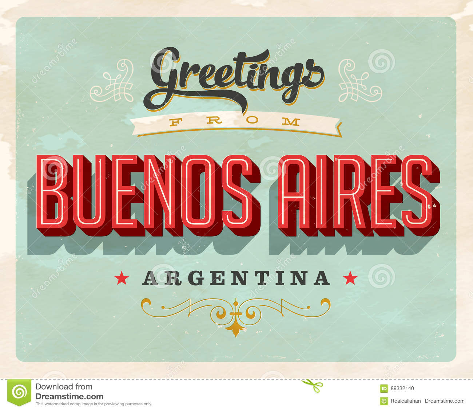 Uitstekende groeten de vakantiekaart van van Buenos aires, Argentinië