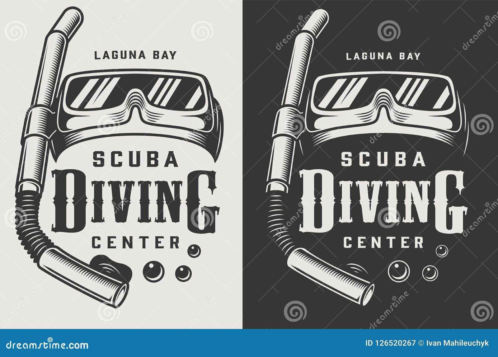 Uitstekende het duiken centrum zwart-wit logotypes