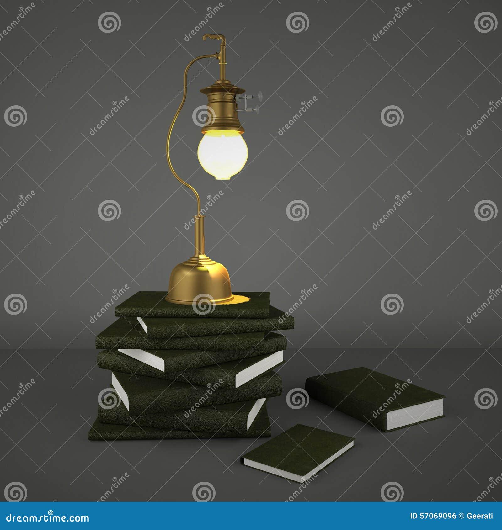 Uitstekende het gaslamp van het messingsmetaal en stapel van boeken