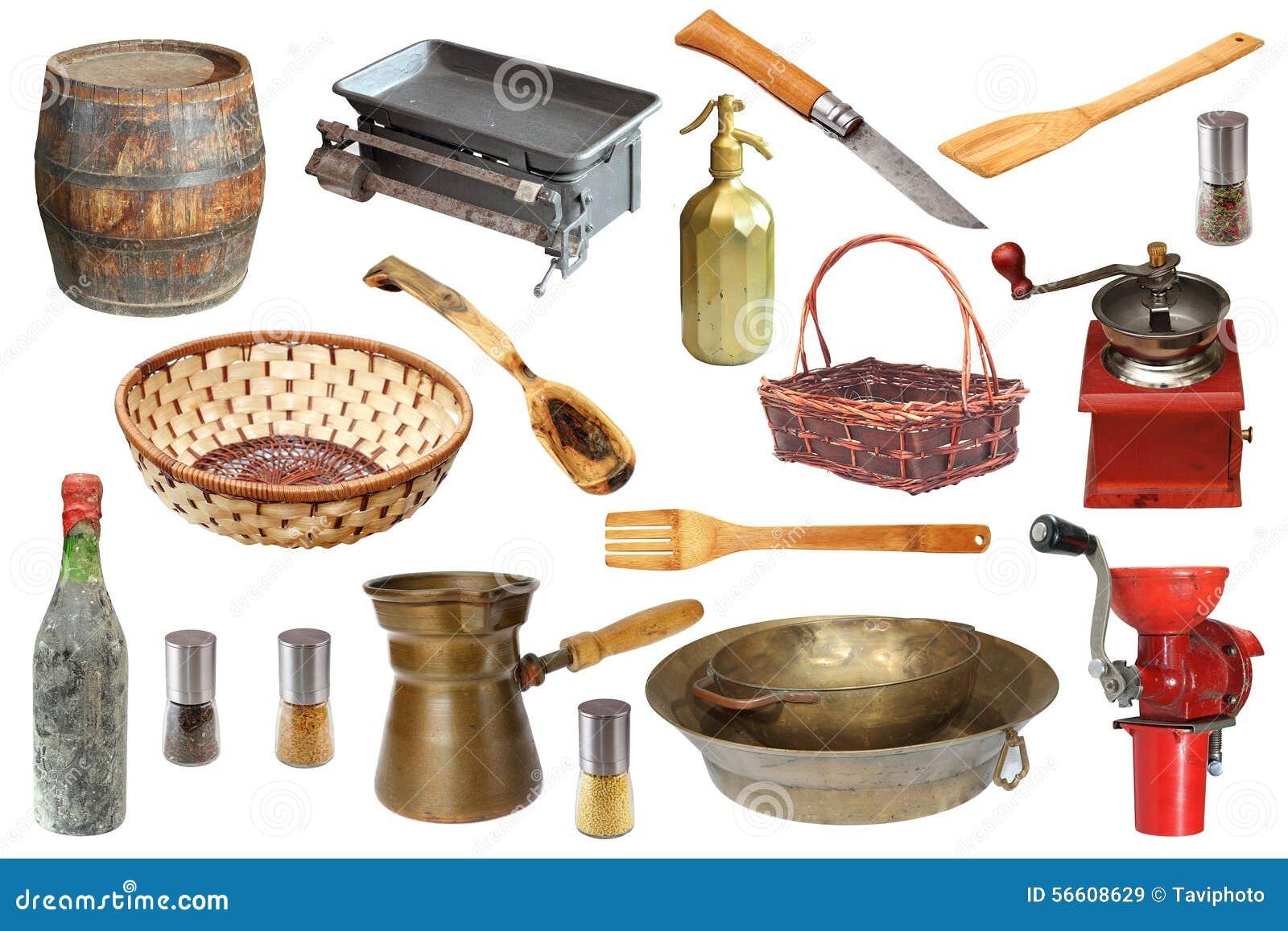 Uitstekende keukenvoorwerpen stock afbeelding afbeelding - Objetos vintage ...