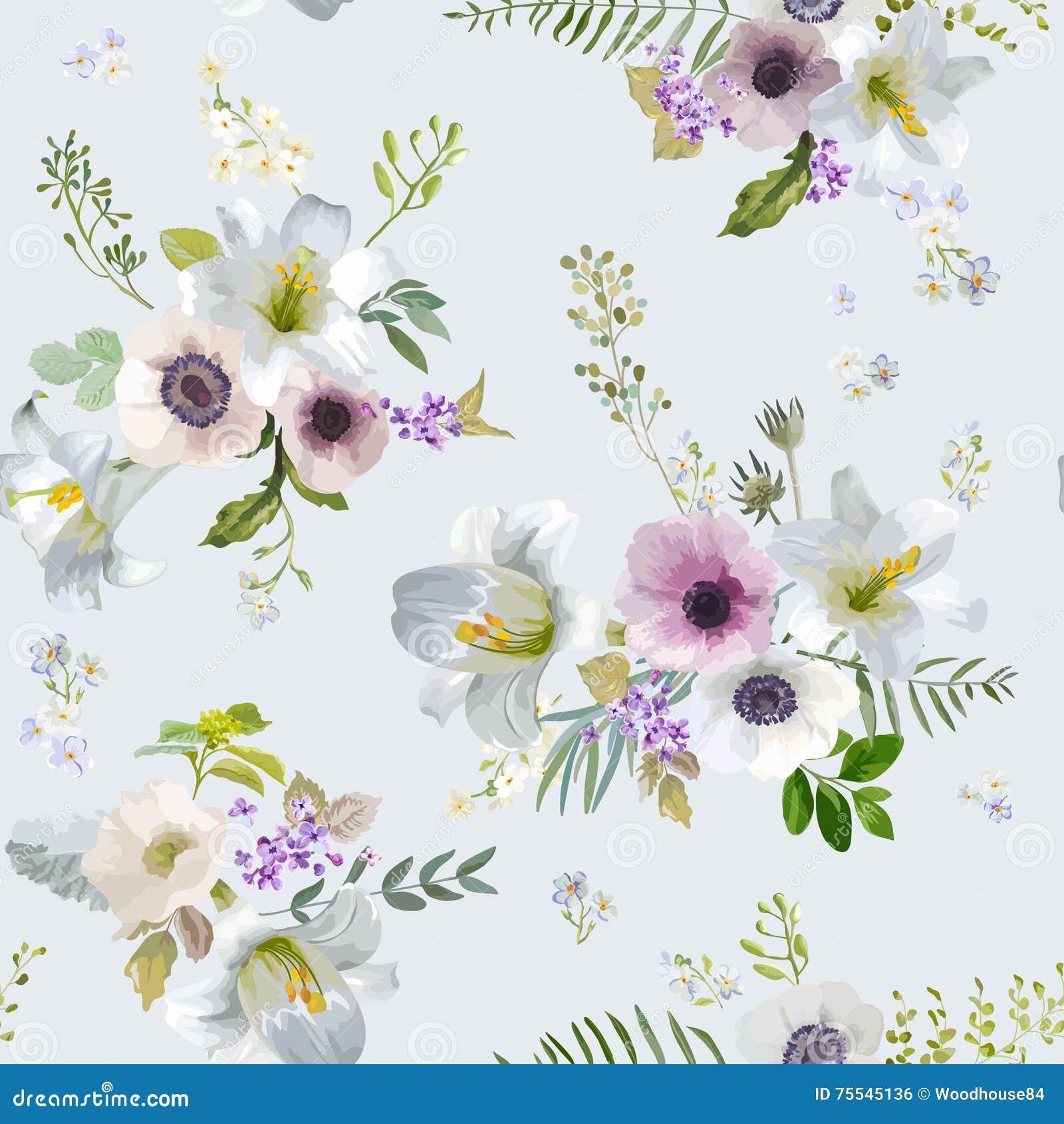 Uitstekende Lelie en Anemone Flowers Background - de Zomer Naadloos Patroon