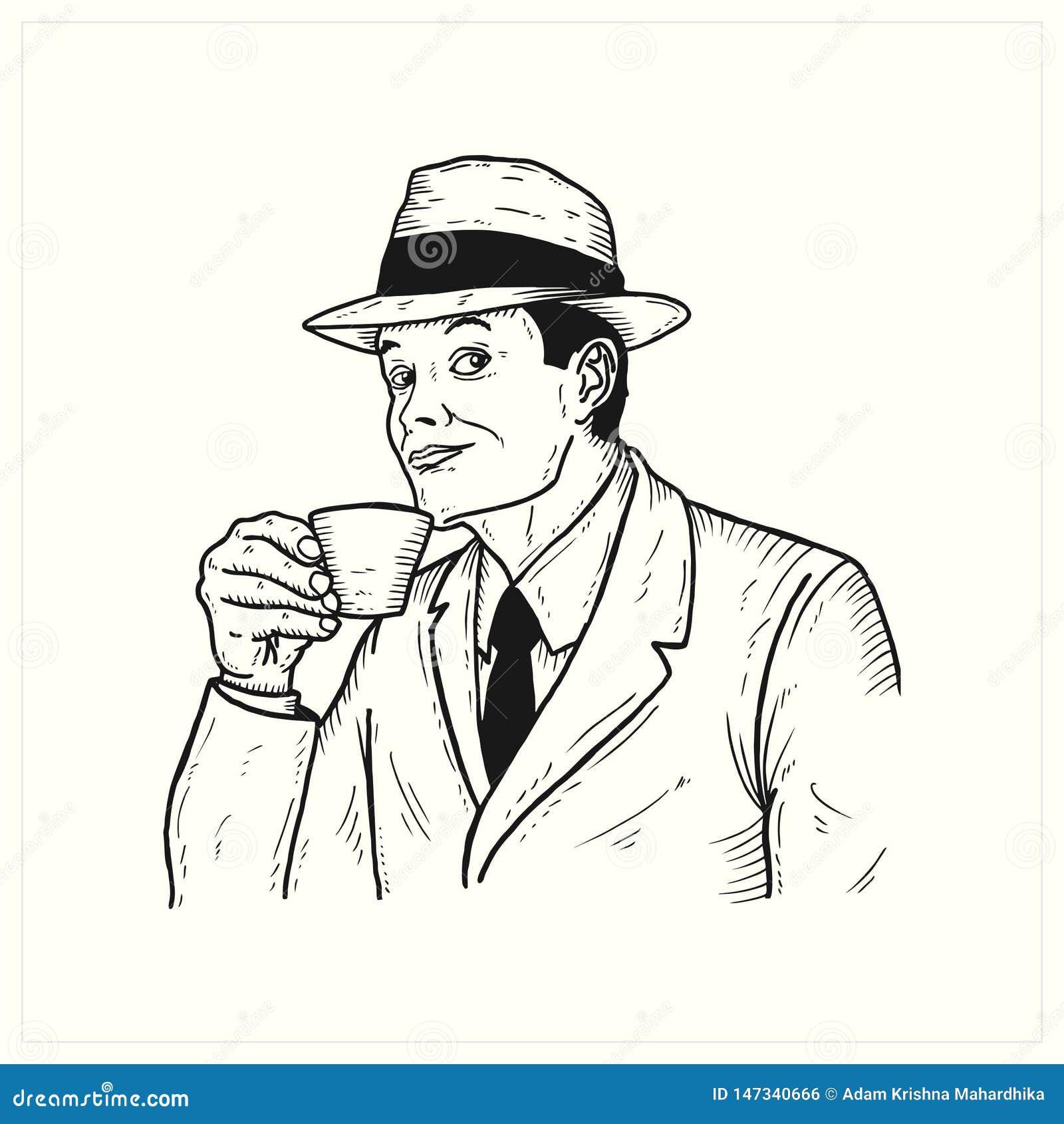 Uitstekende Mens drinkin een kop van koffie