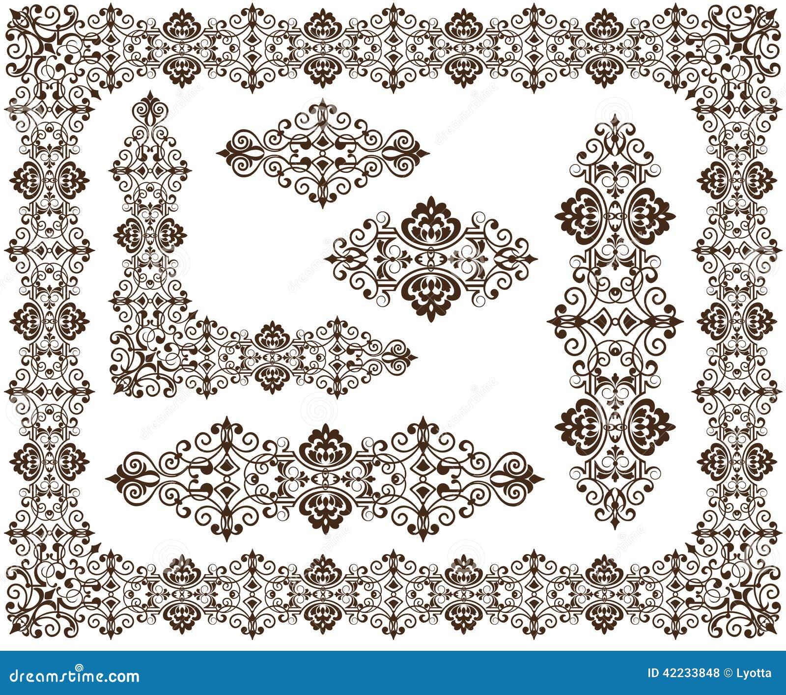 Uitstekende ornamentenkaders, hoeken, grenzenontwerp