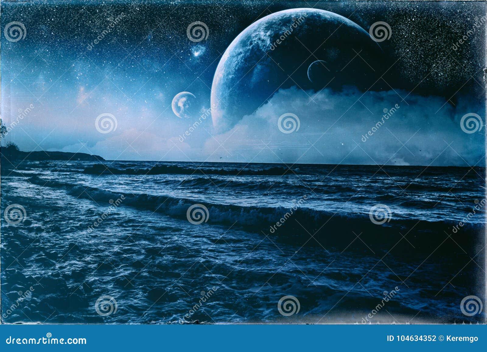 Download Uitstekende Oude Foto Van De Fantasie De Golvende Blauwe Oever Stock Illustratie - Illustratie bestaande uit verbeelding, reusachtig: 104634352