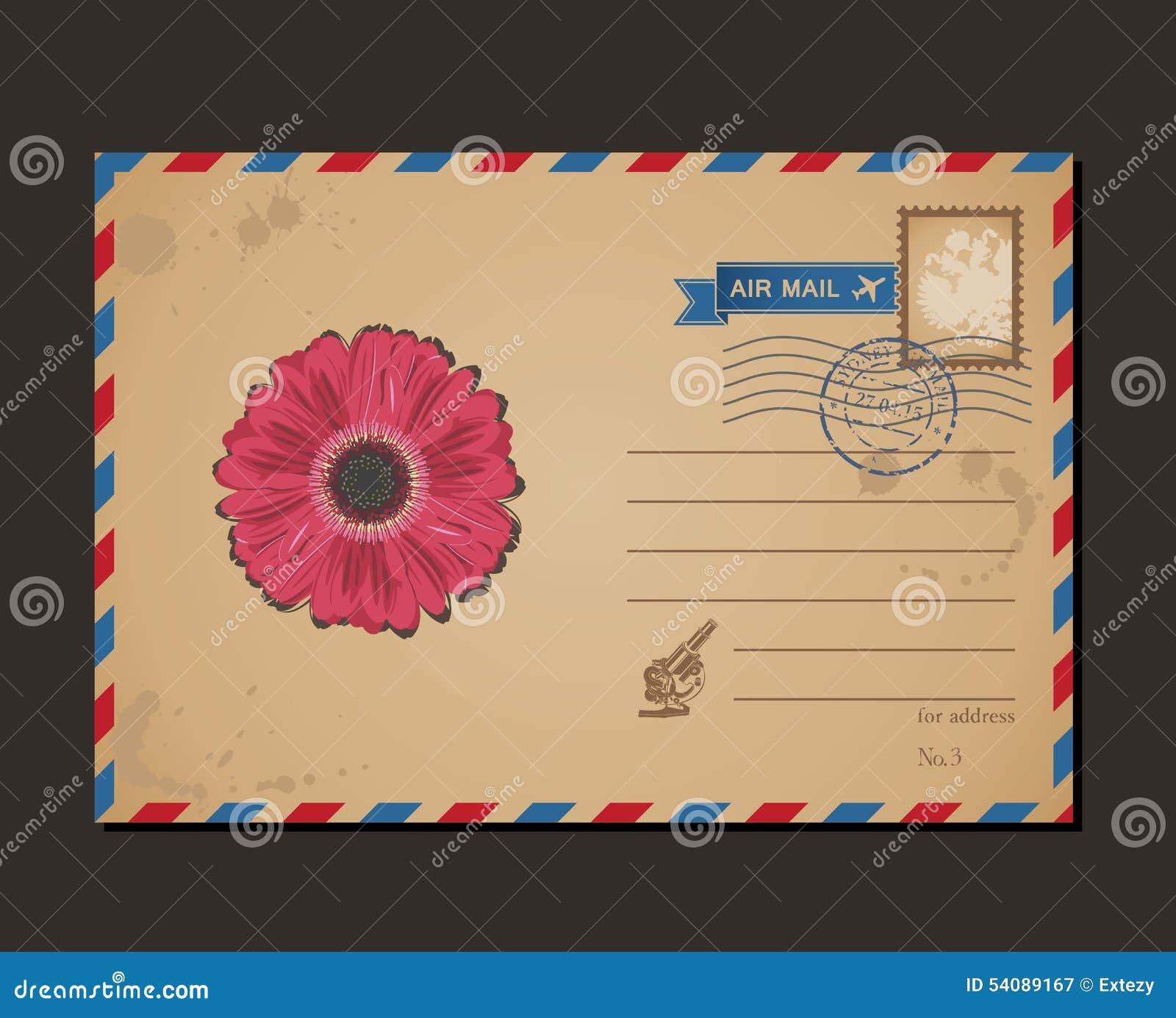 Uitstekende Prentbriefkaar en Postzegels Ontwerpbloem