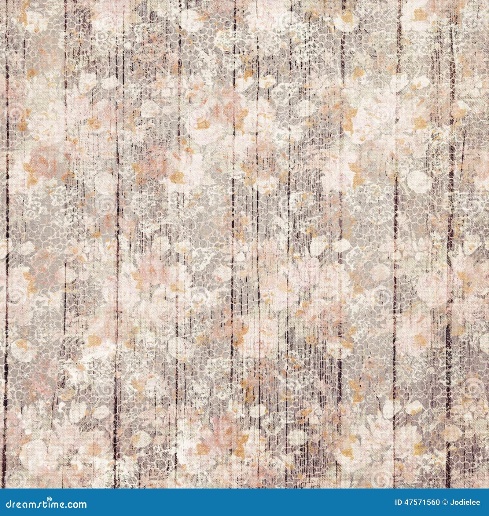 Uitstekende purpere grungy bloemen en houten korrelontwerp als achtergrond