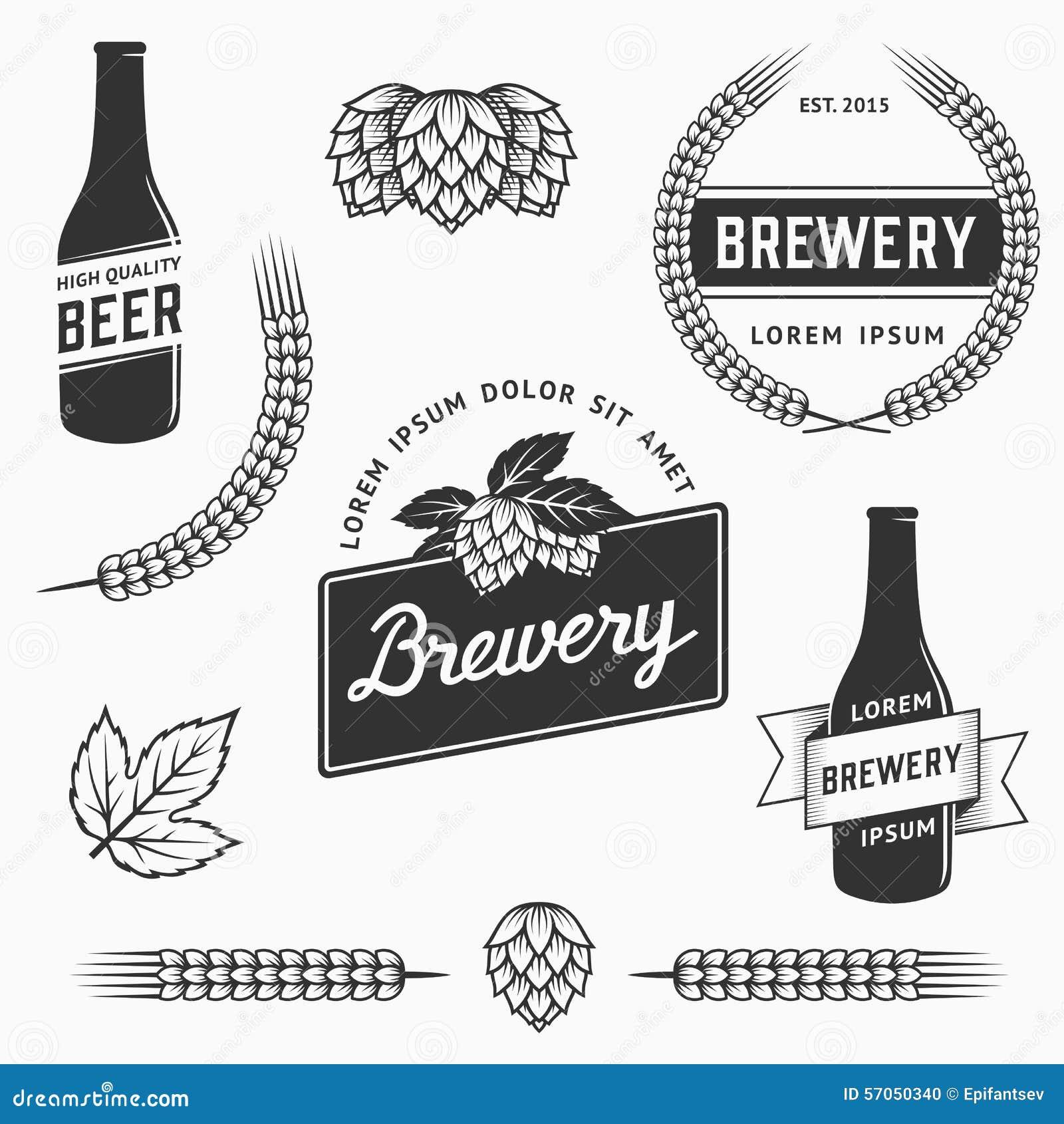 Uitstekende reeks van brouwerijemblemen, etiketten en ontwerpelement Voorraadvector
