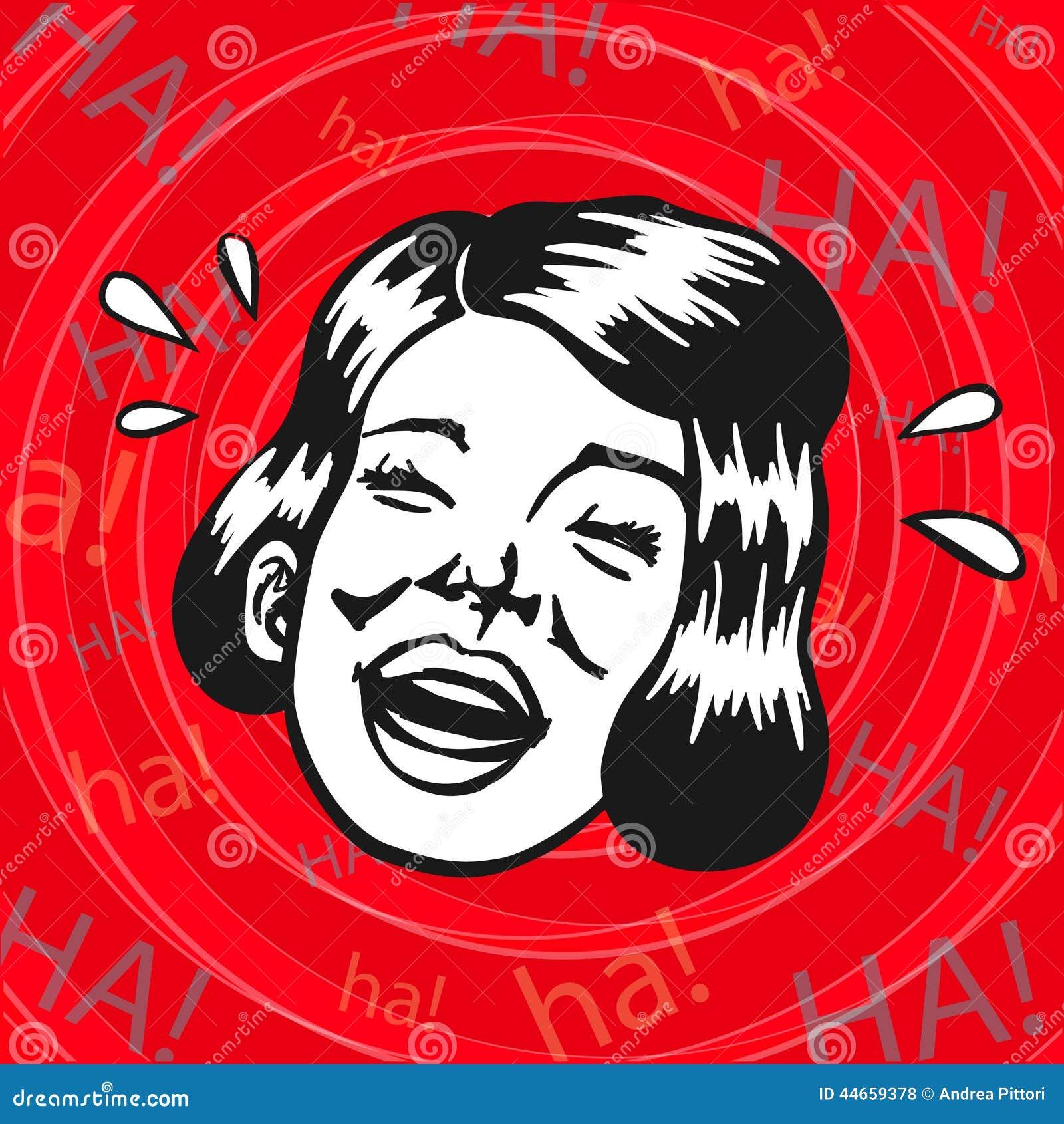Uitstekende Retro Clipart Vrouw Die Pret En Het Lachen Hebben
