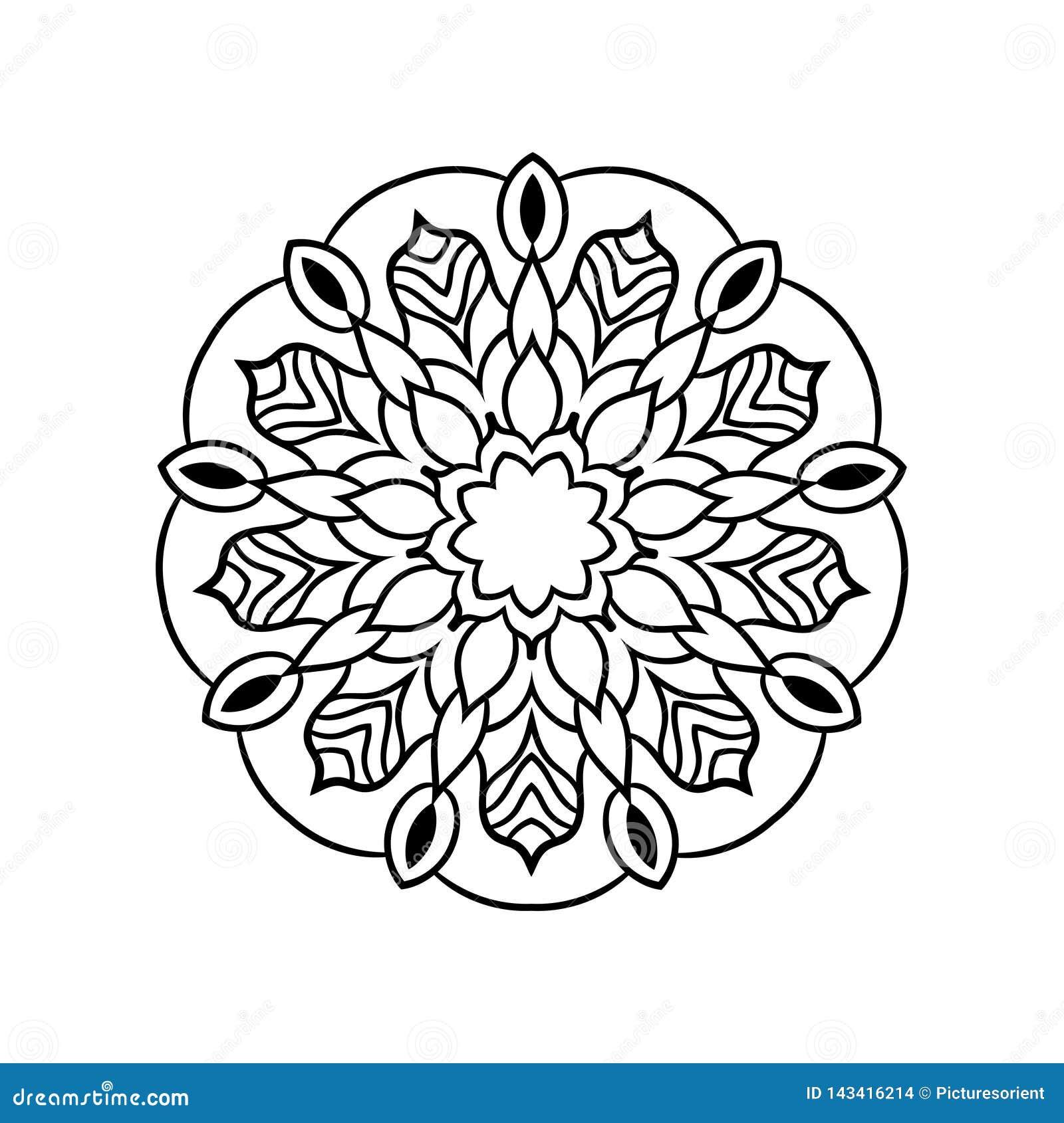 Uitstekende retro siermandala Rond symmetrisch patroon