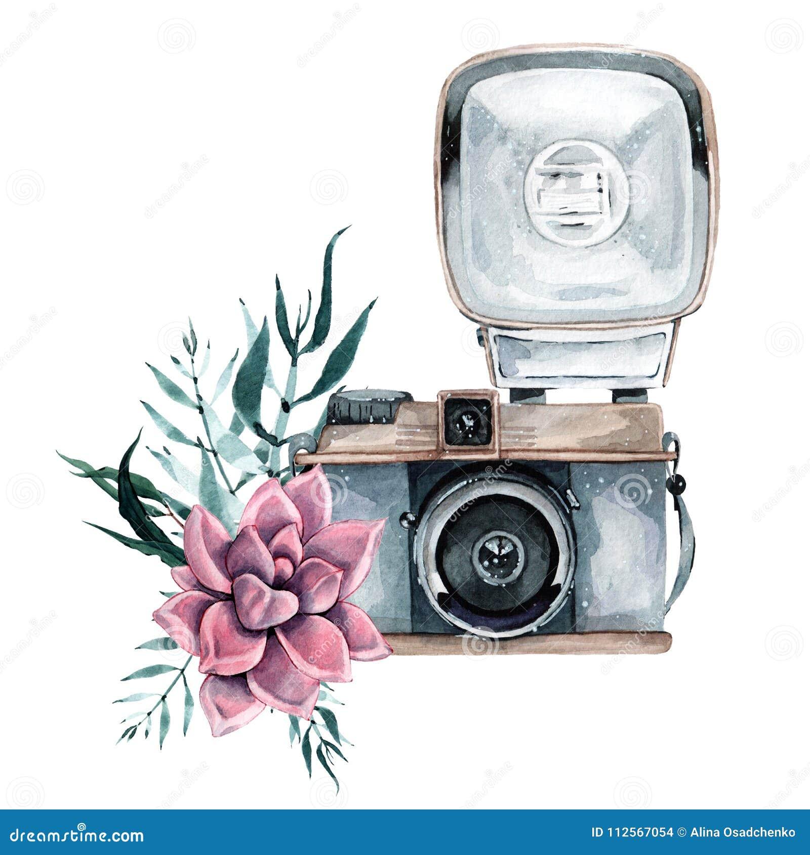 Uitstekende retro waterverfcamera Perfectioneer voor fotografieembleem