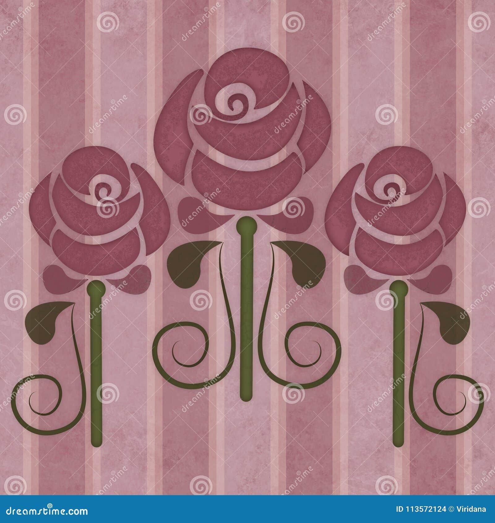 Uitstekende rozen in Jugendstilstijl op een langzaam verdwenen gestreepte achtergrond
