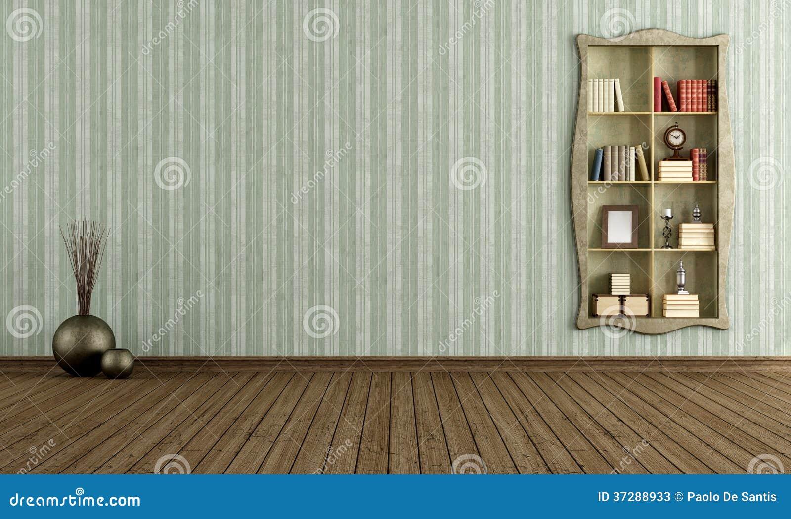 Uitstekende Ruimte Met Oude Boekenkast Stock Illustratie ...