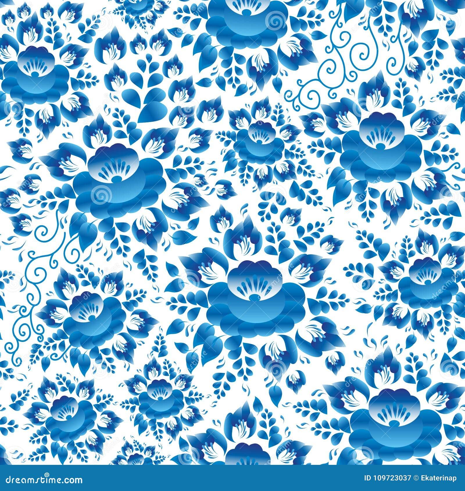 Uitstekende sjofele Elegante de lente romantische decoratie, pastelkleur, Naadloos patroon met hemel blauwe bloemen en bladeren o
