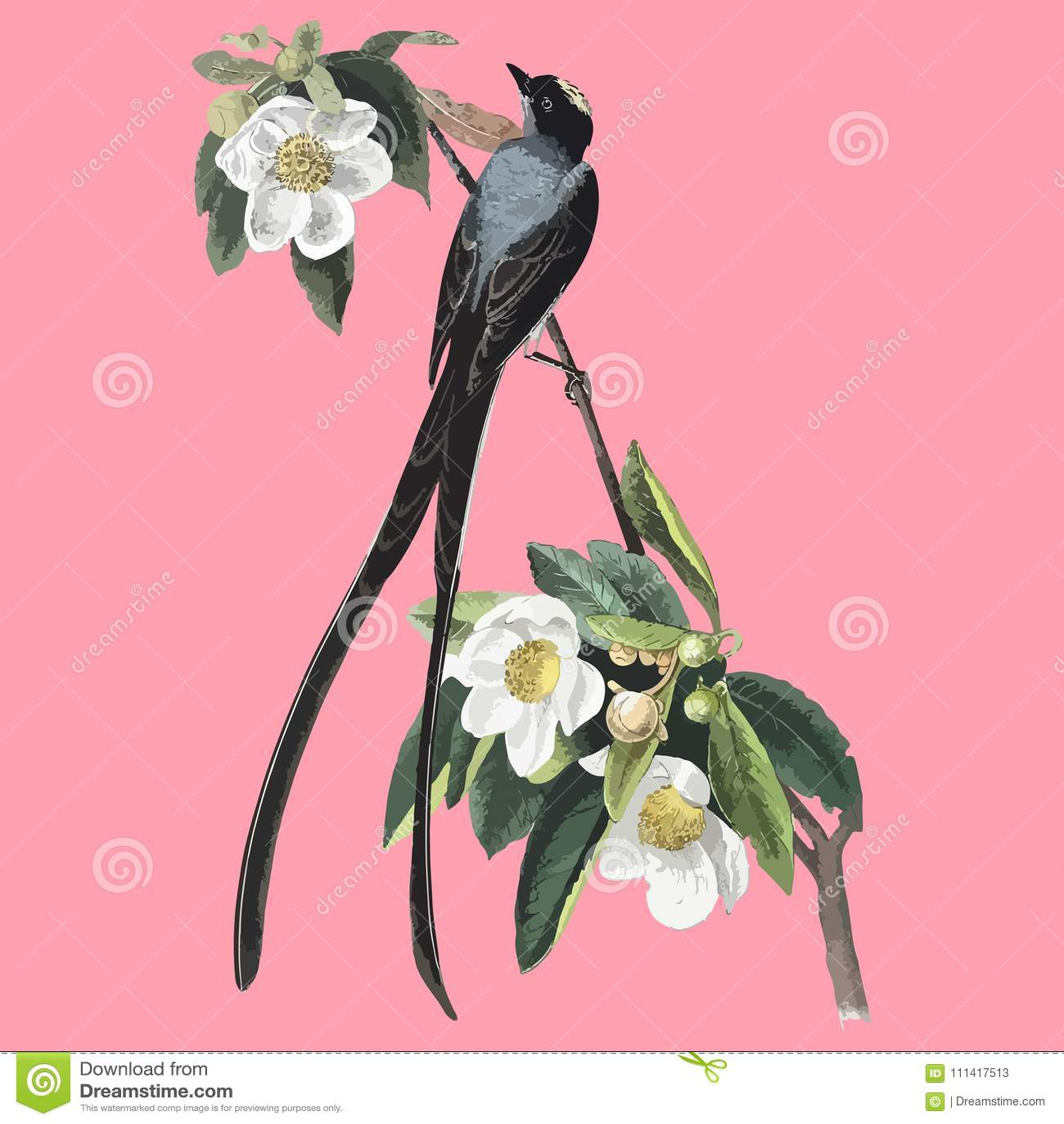 Uitstekende tekening van bloem en vogel