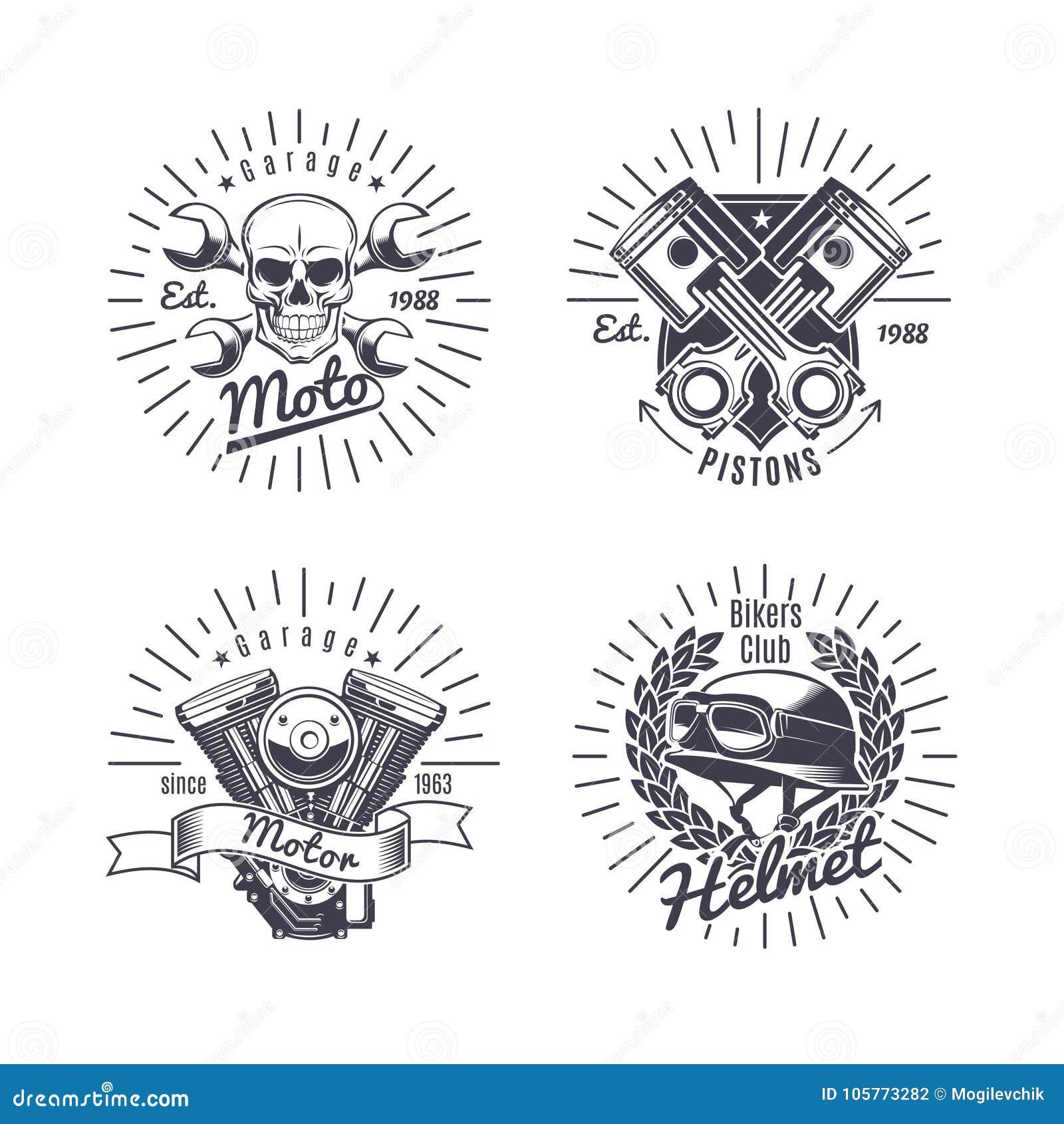 Uitstekende Zwart-wit Geplaatste Motorfietsemblemen