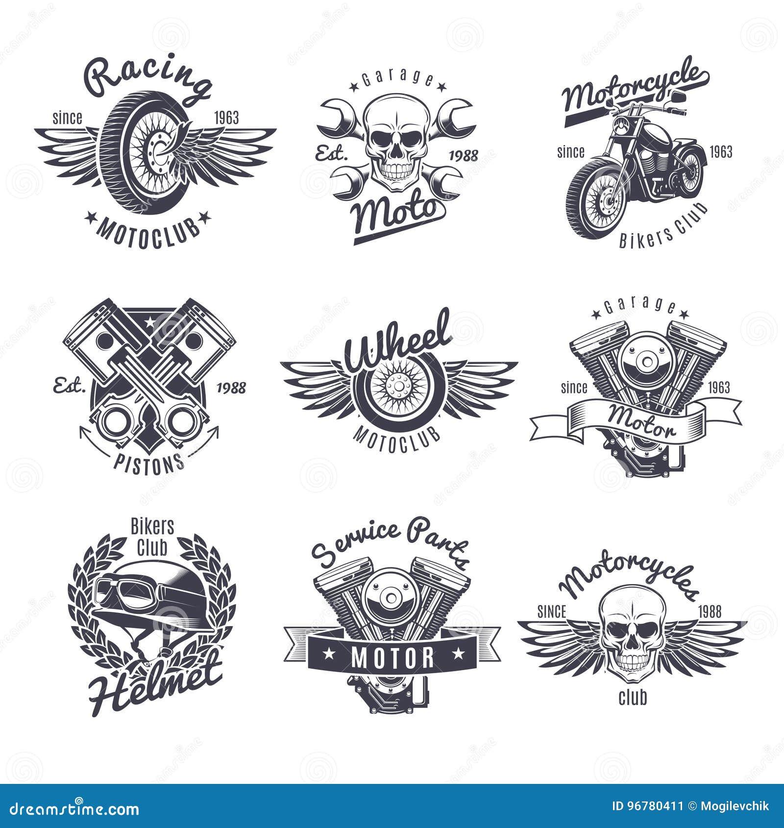 Uitstekende Zwart-wit Geplaatste Motorfietsetiketten