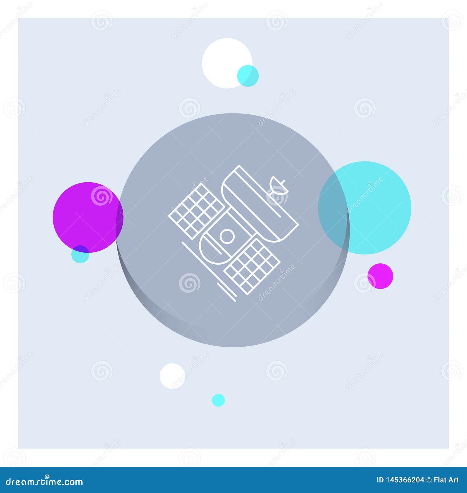Uitzending, het uitzenden, mededeling, satelliet, Achtergrond van de het Pictogram kleurrijke Cirkel van de telecommunicatie de W