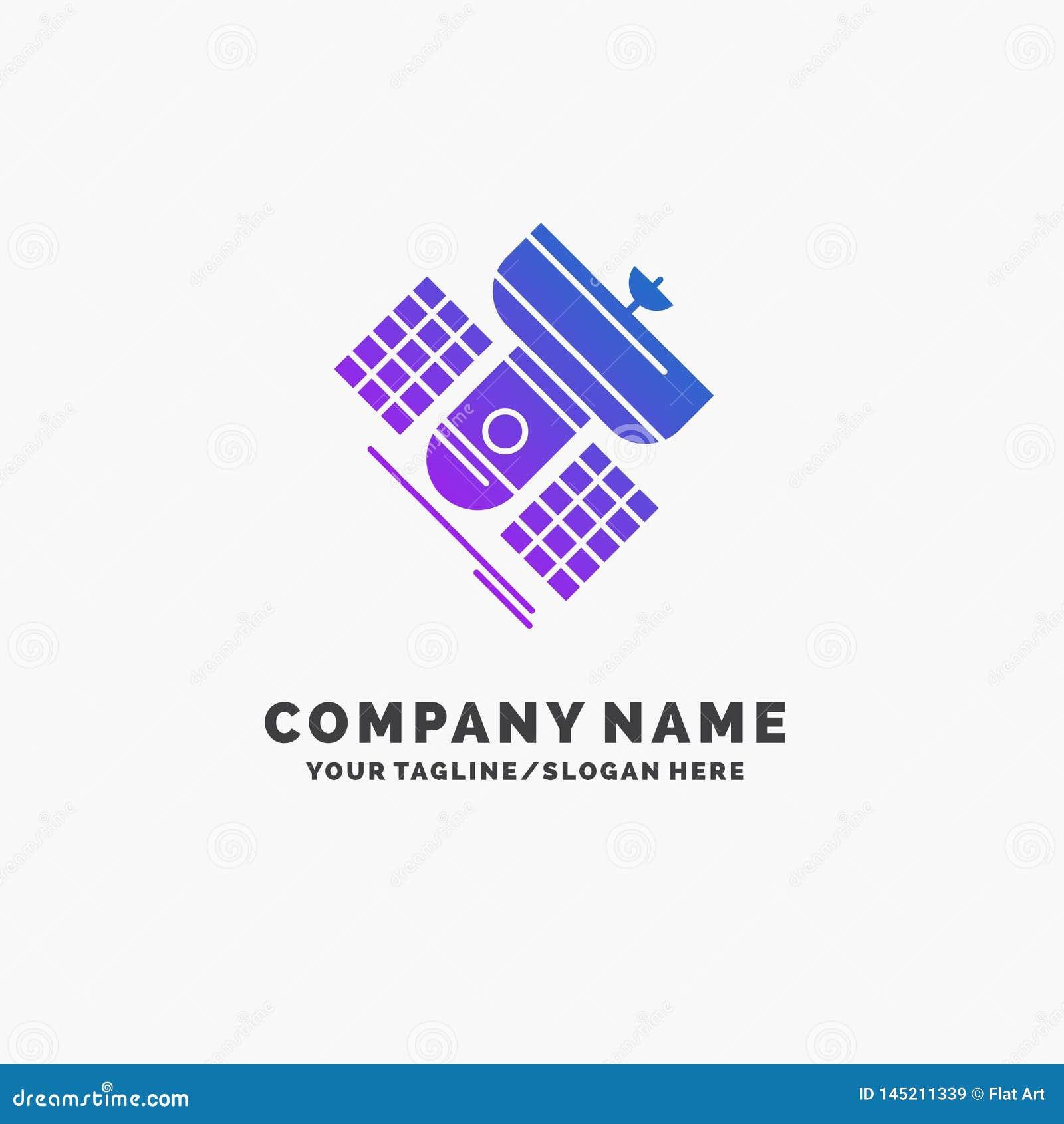 Uitzending, het uitzenden, mededeling, satelliet, telecommunicatie Purpere Zaken Logo Template Plaats voor Tagline