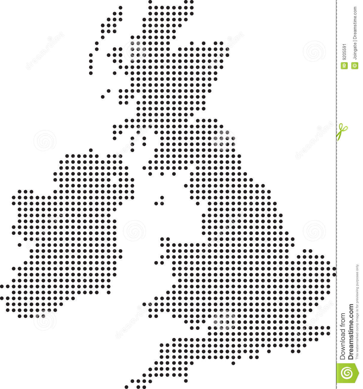 Illustration of a map of the uk made up of dots.
