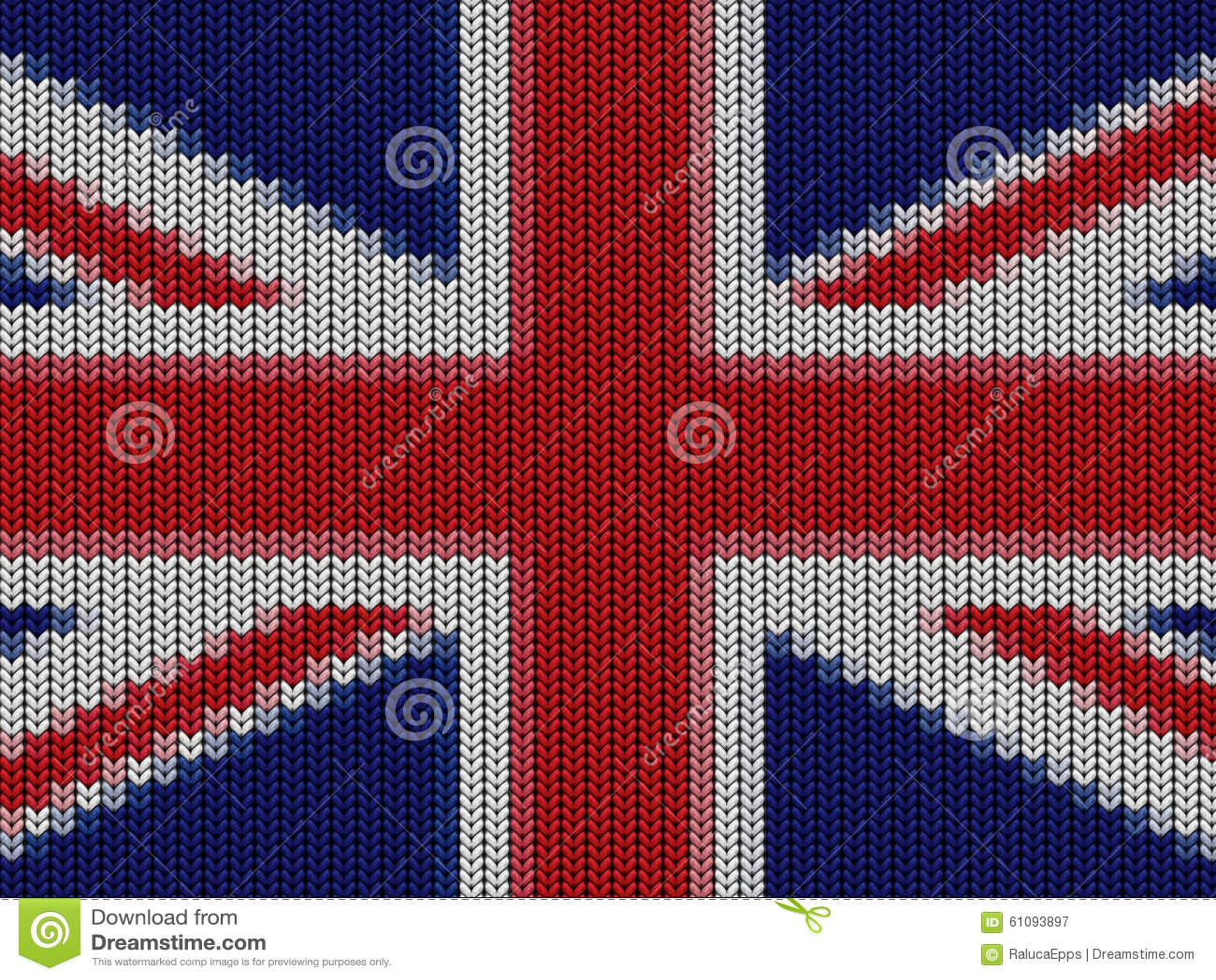 UK English Flag In Knitting Pattern Stock Illustration - Image: 61093897